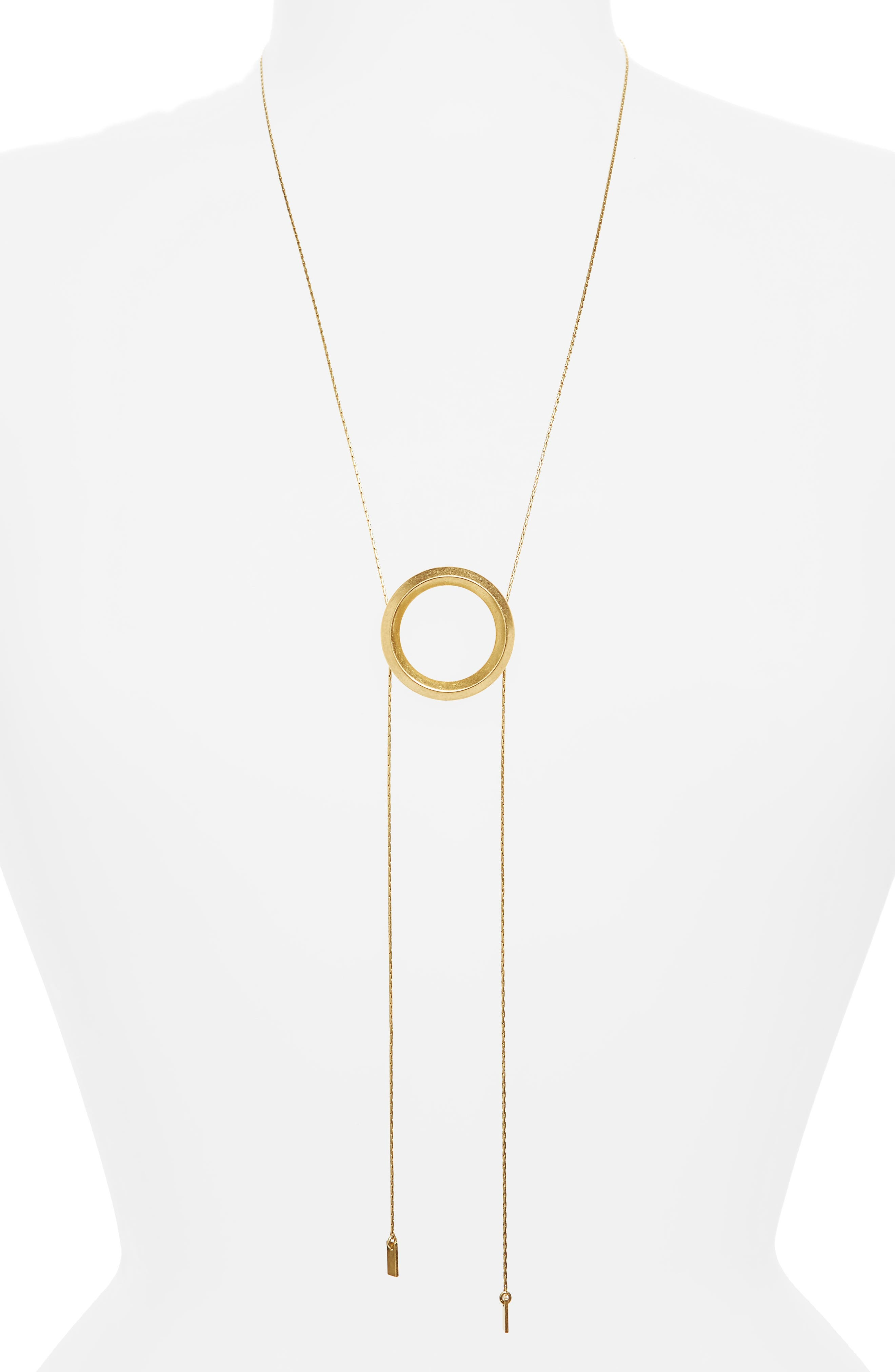 Sliding Ring Bolo Necklace,                         Main,                         color, Gold Ox