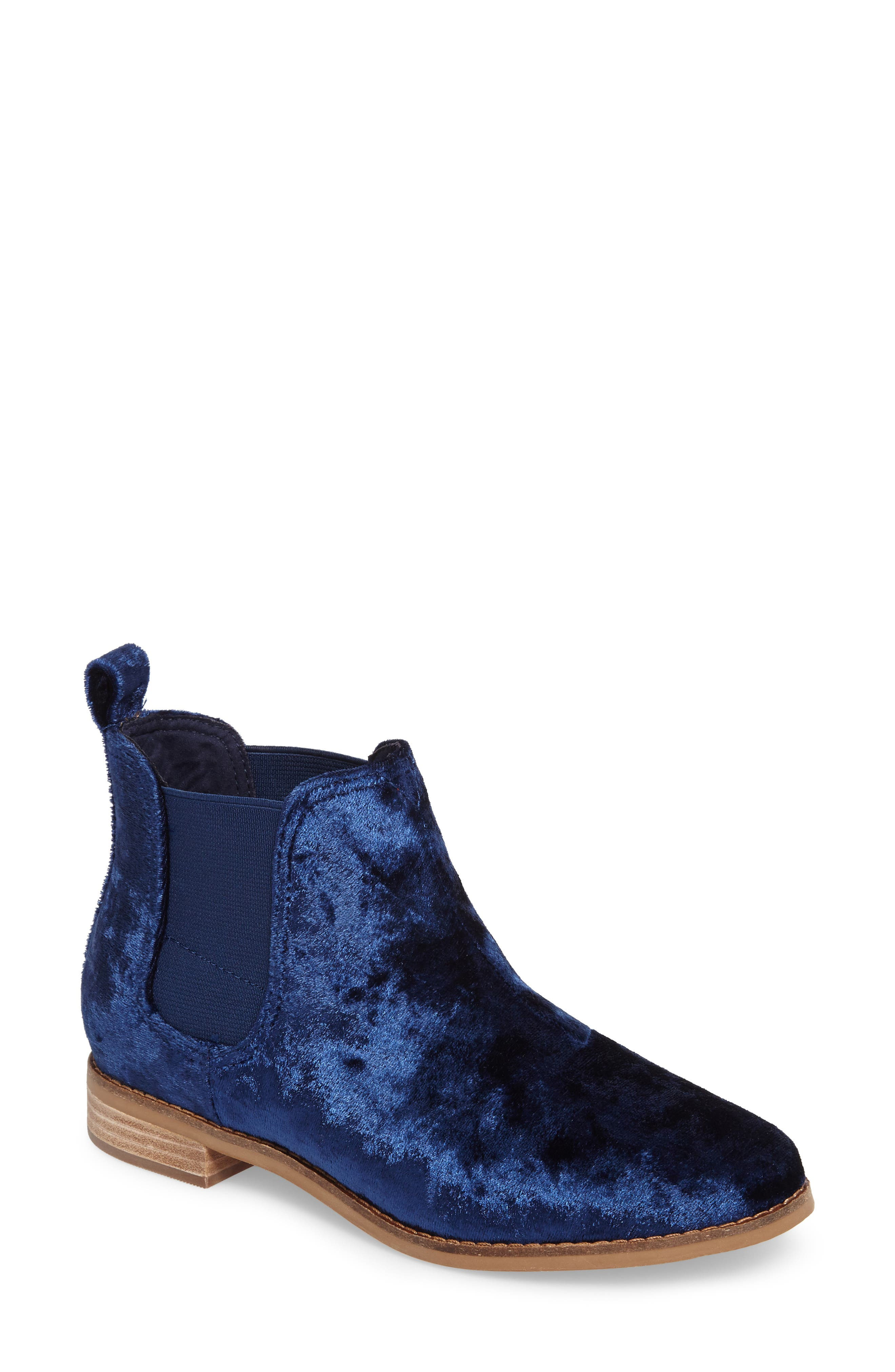 Ella Bootie,                             Main thumbnail 1, color,                             Navy Fabric
