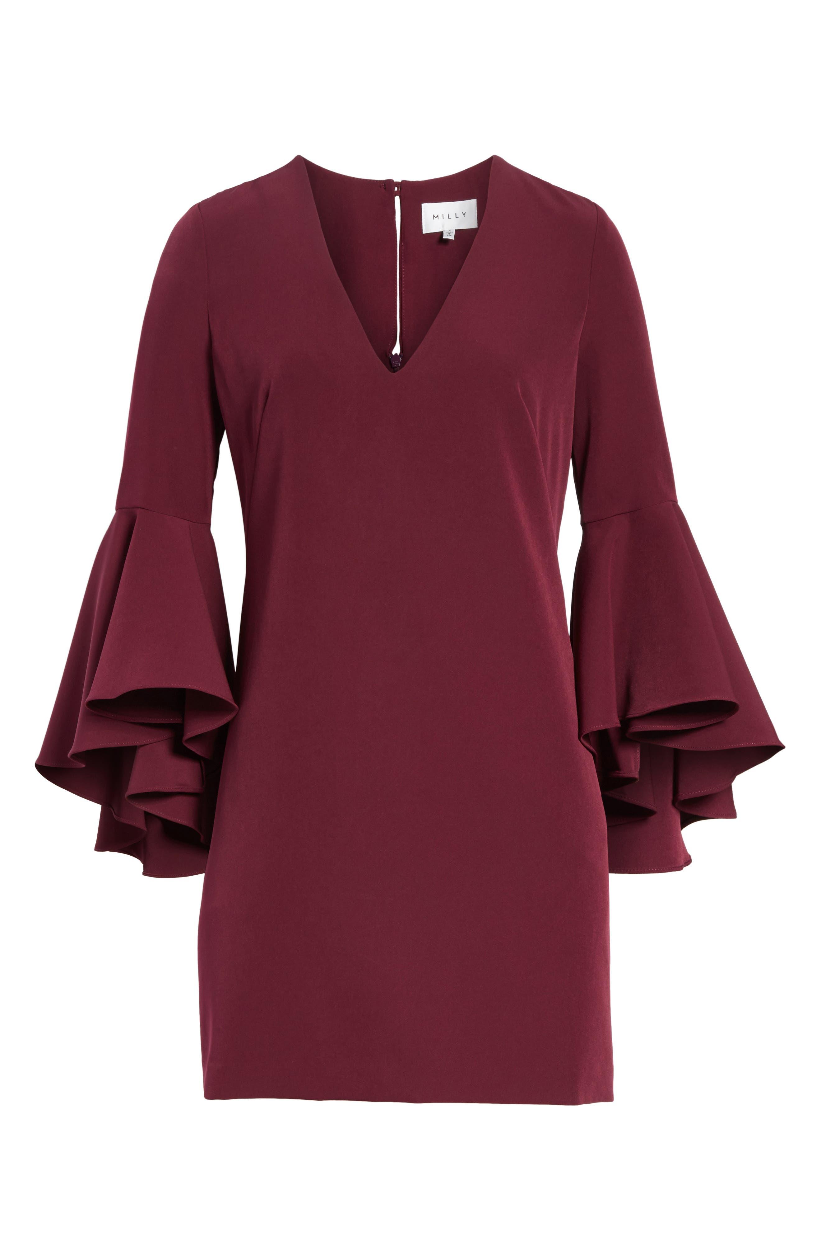 Nicole Bell Sleeve Dress,                         Main,                         color, Burgundy