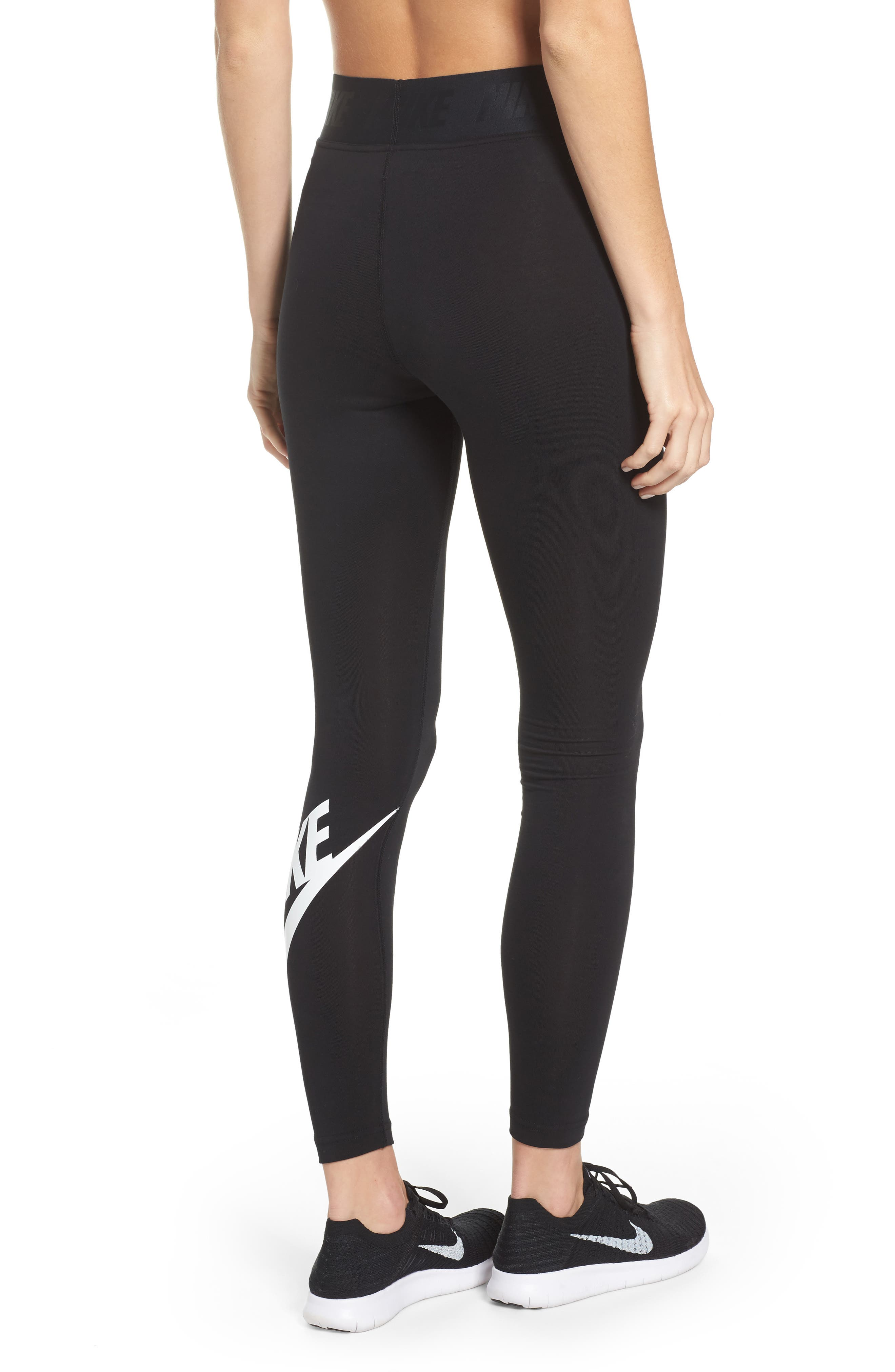 Leg-a-See High Waist Leggings,                             Alternate thumbnail 2, color,                             Black/ White