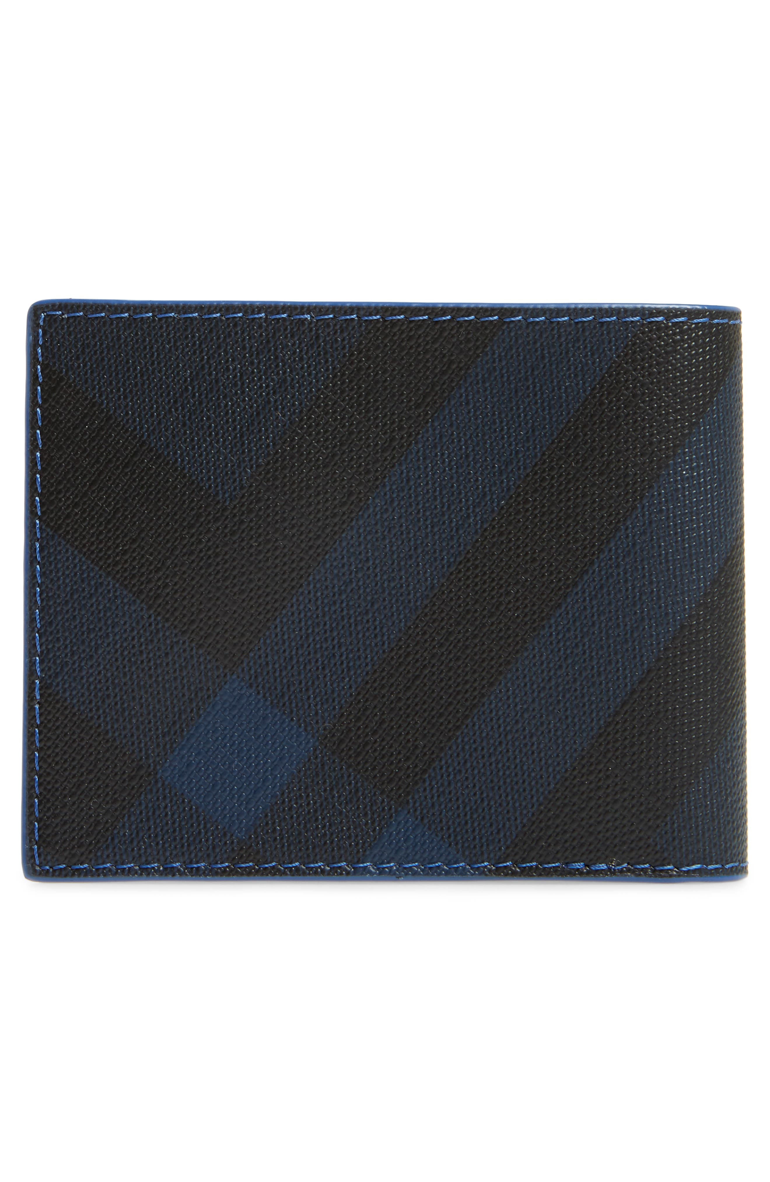 Check Faux Leather Wallet,                             Alternate thumbnail 3, color,                             Navy/ Blue