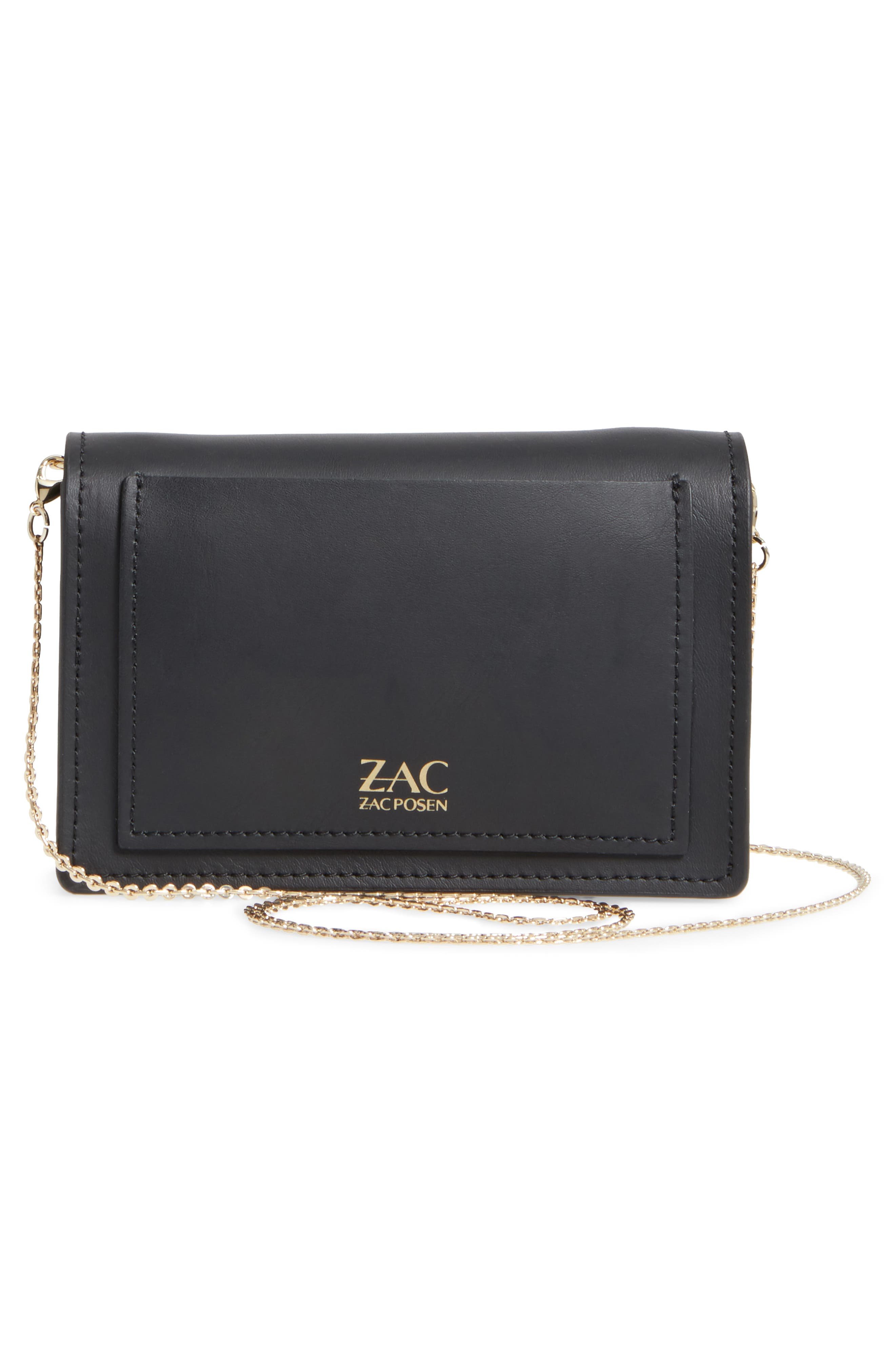 ZAC Zac Posen Earthette Leather Accordion Bag,                             Alternate thumbnail 3, color,                             Black