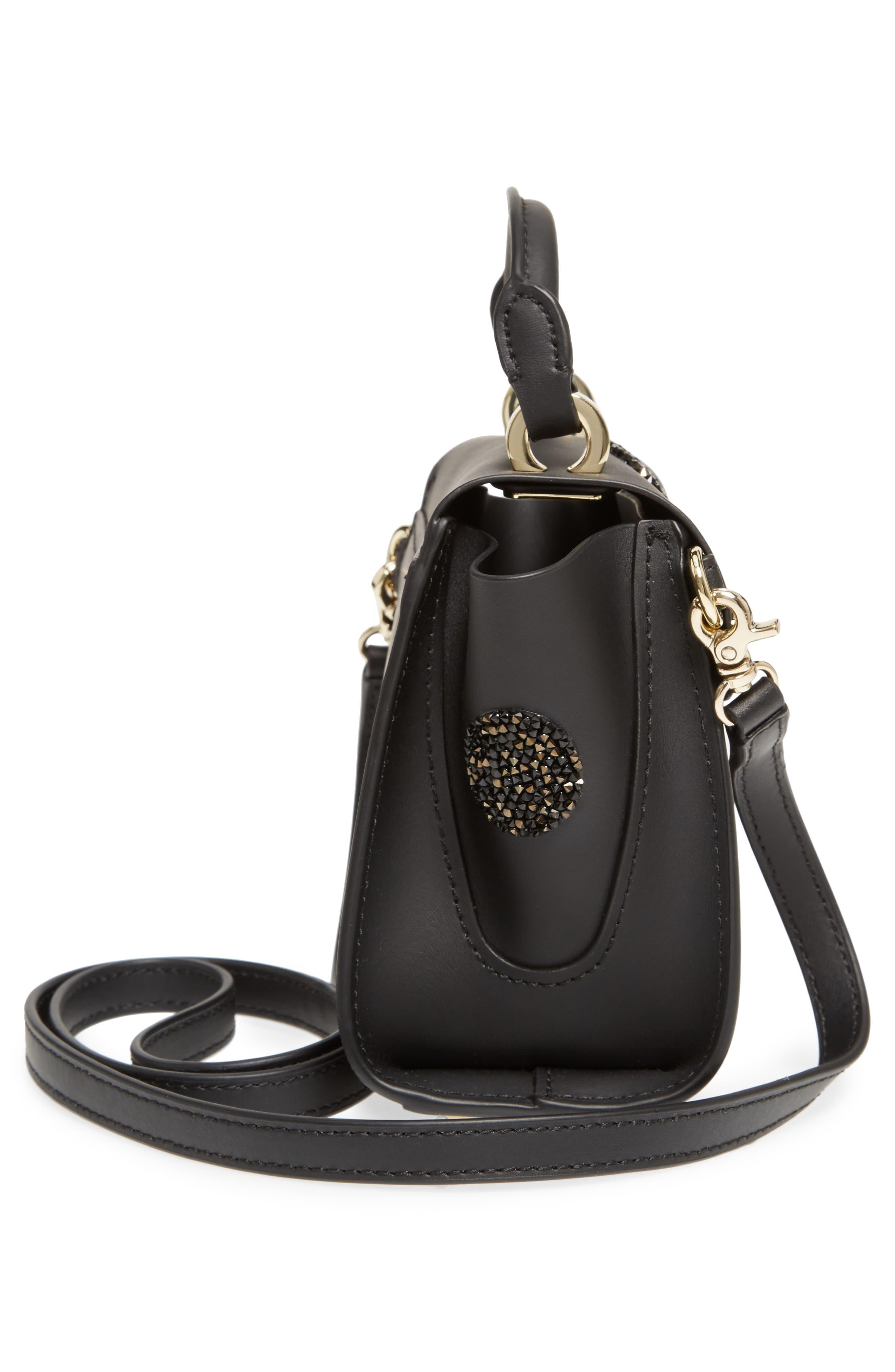 Mini Eartha Iconic Calfskin Leather Top Handle Satchel,                             Alternate thumbnail 5, color,                             Black