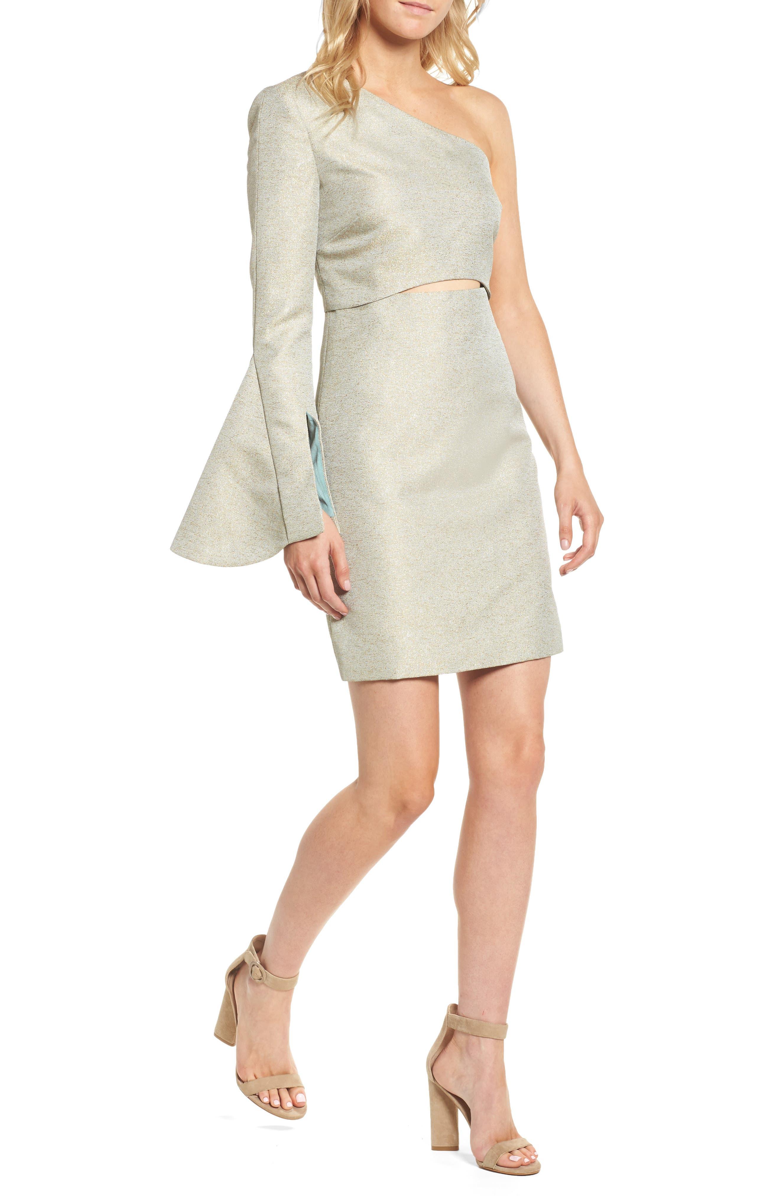 Valencia One-Shoulder Minidress,                             Main thumbnail 1, color,                             Sage
