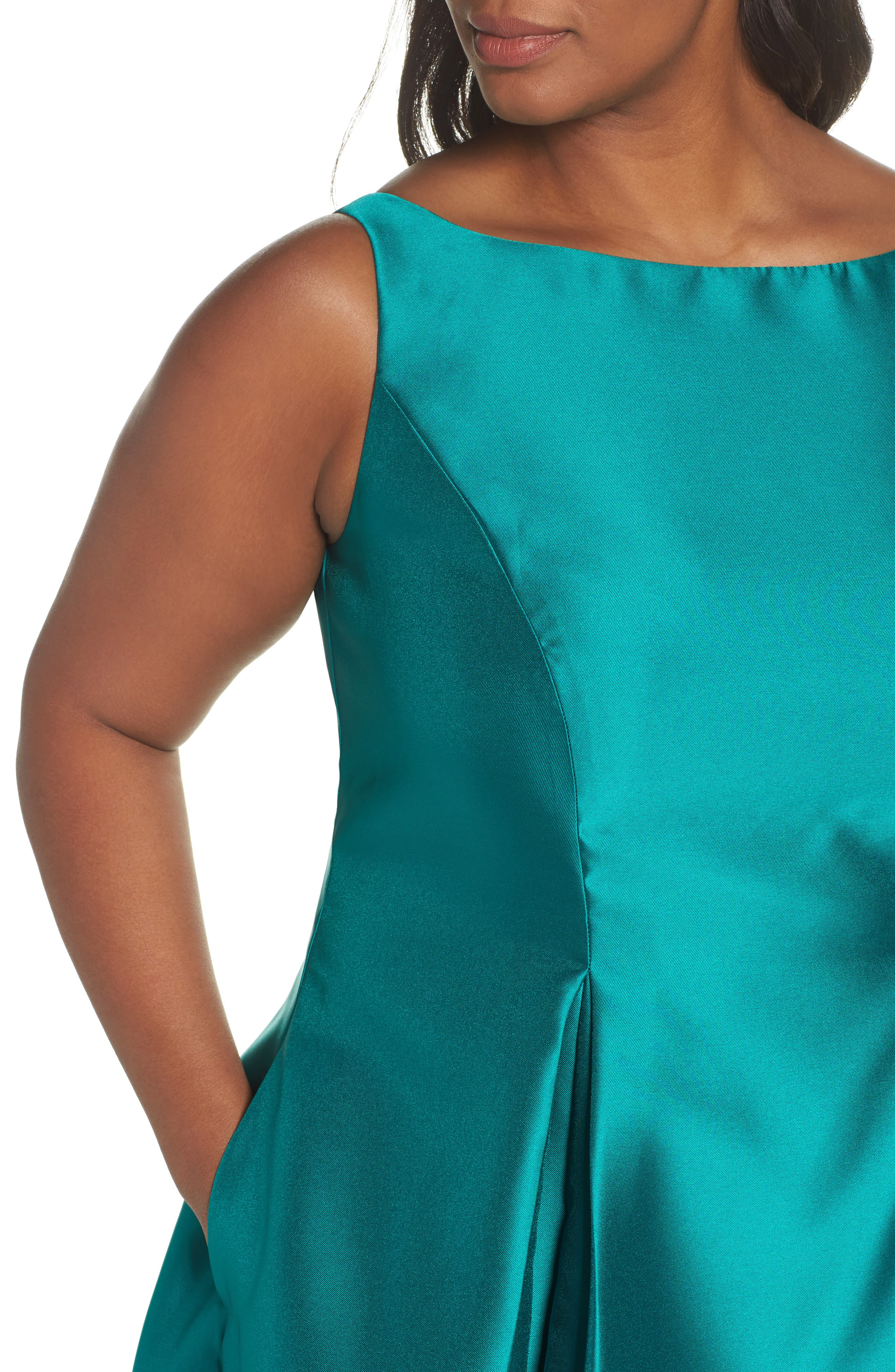 Sleeveless Mikado Fit & Flare Midi Dress,                             Alternate thumbnail 4, color,                             Vivid Malachite