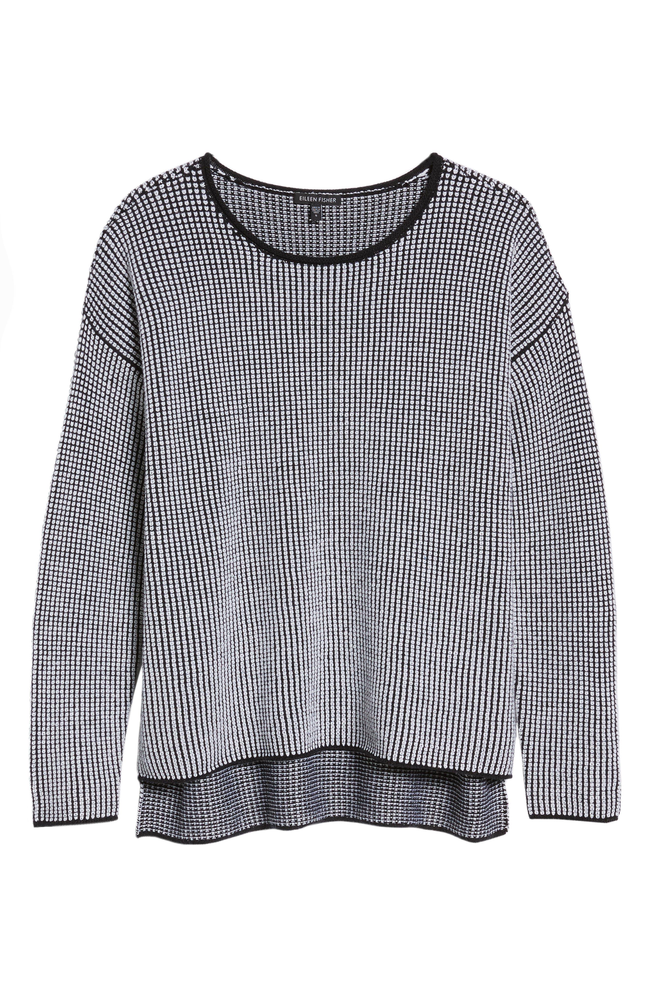 Textured Merino Wool Sweater,                             Alternate thumbnail 7, color,                             Black/ Soft White