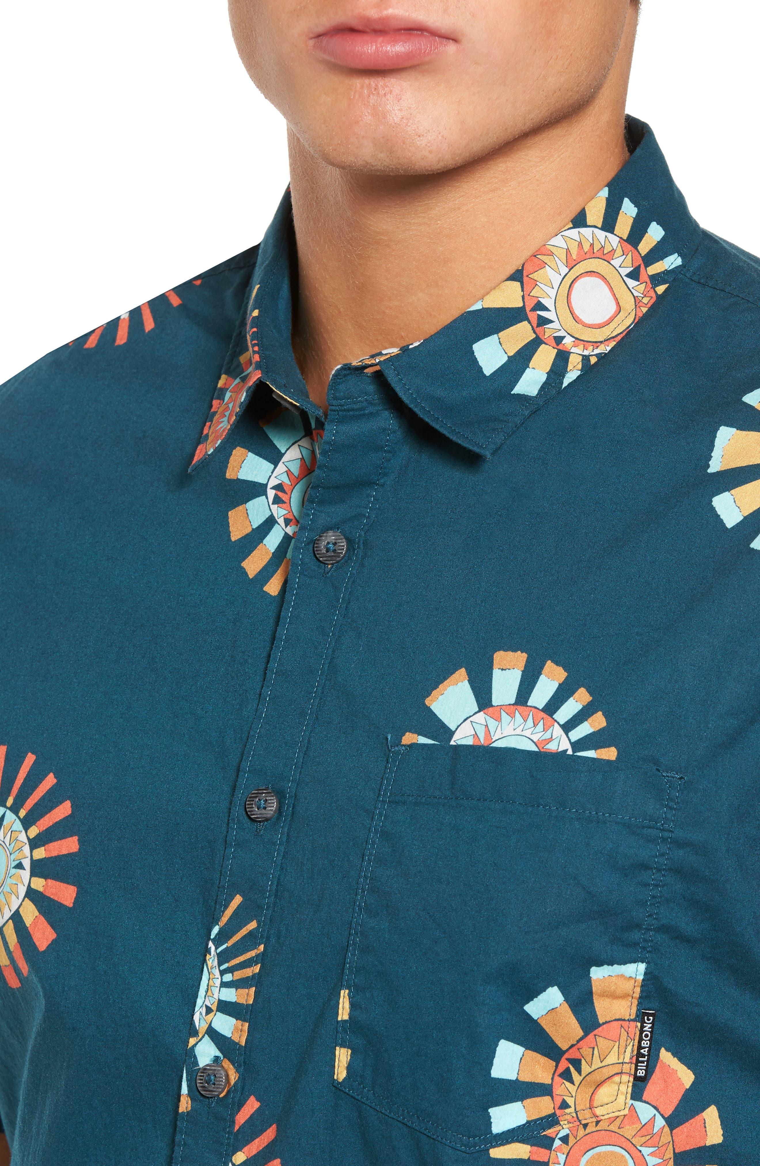 Sunday Floral Woven Shirt,                             Alternate thumbnail 4, color,                             Navy