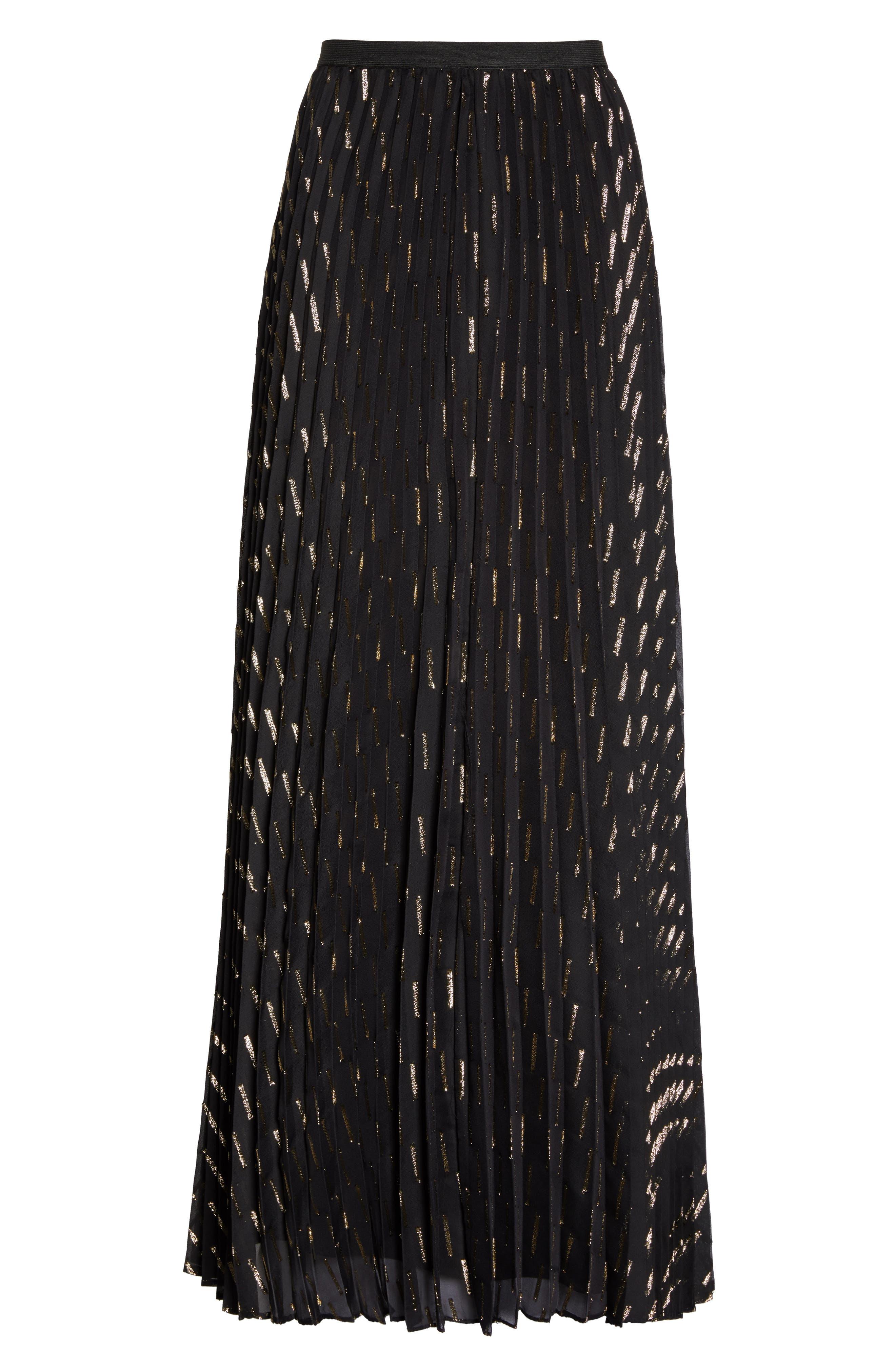 Metallic Detail Pleated Chiffon Maxi Skirt,                             Alternate thumbnail 8, color,                             Black Gold