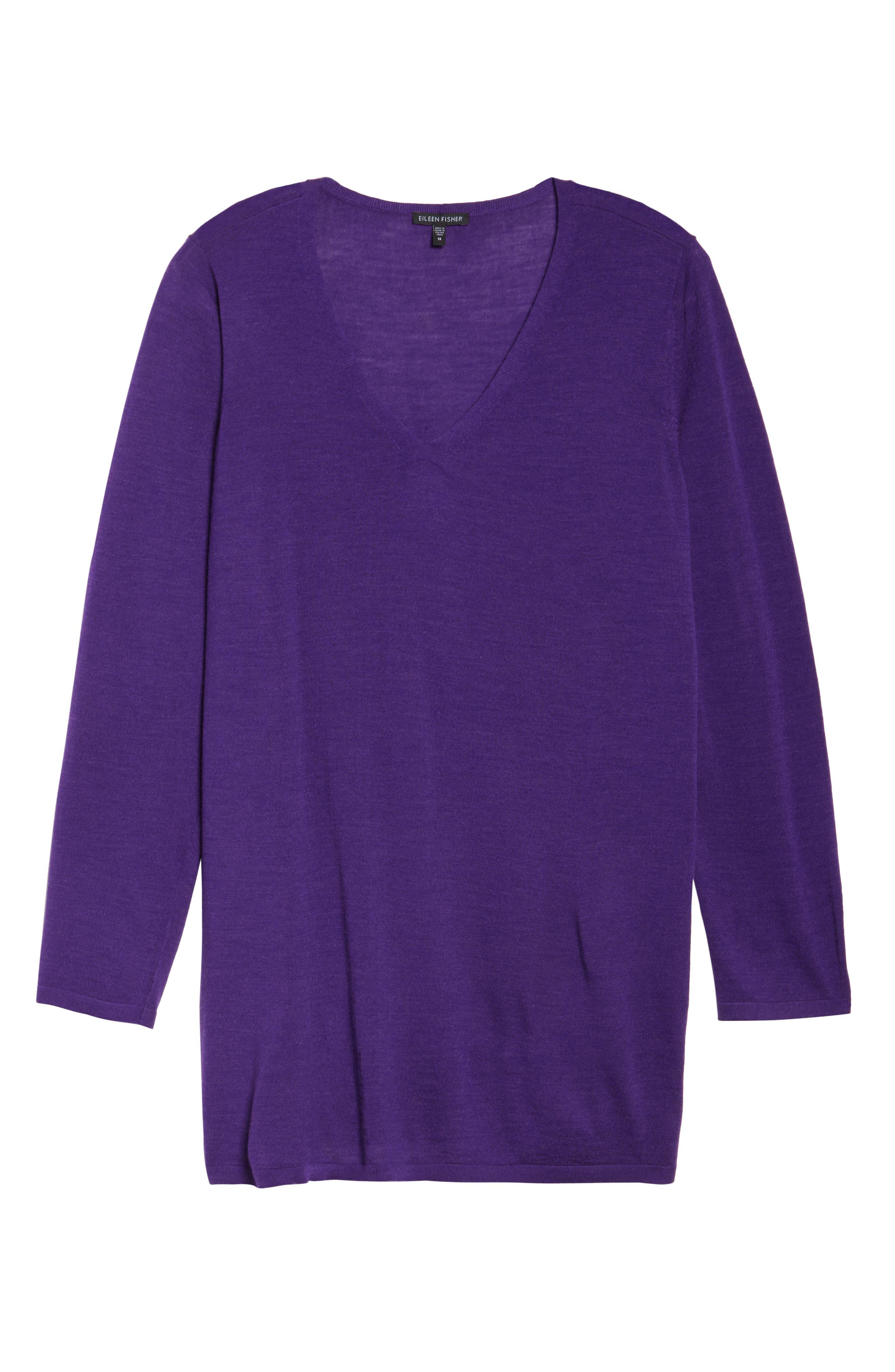 Merino Wool Tunic Sweater,                             Alternate thumbnail 6, color,                             Ultraviolet