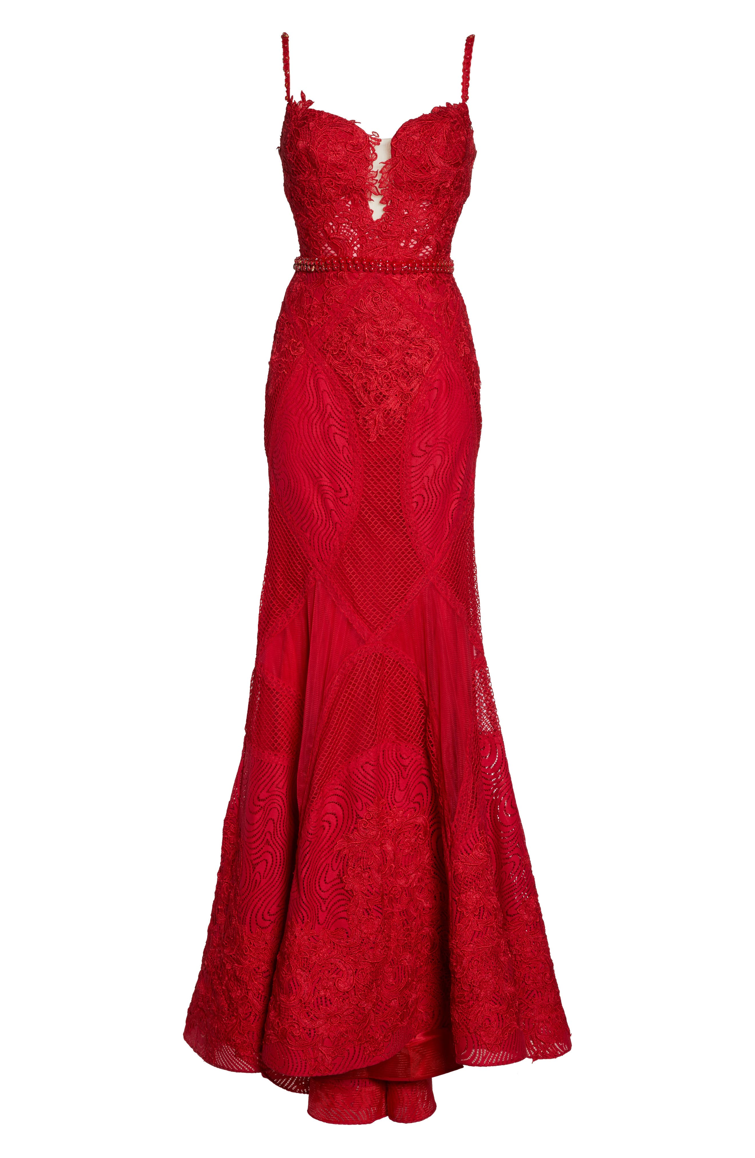 Embellished Lace Mermaid Gown,                             Alternate thumbnail 6, color,                             Red