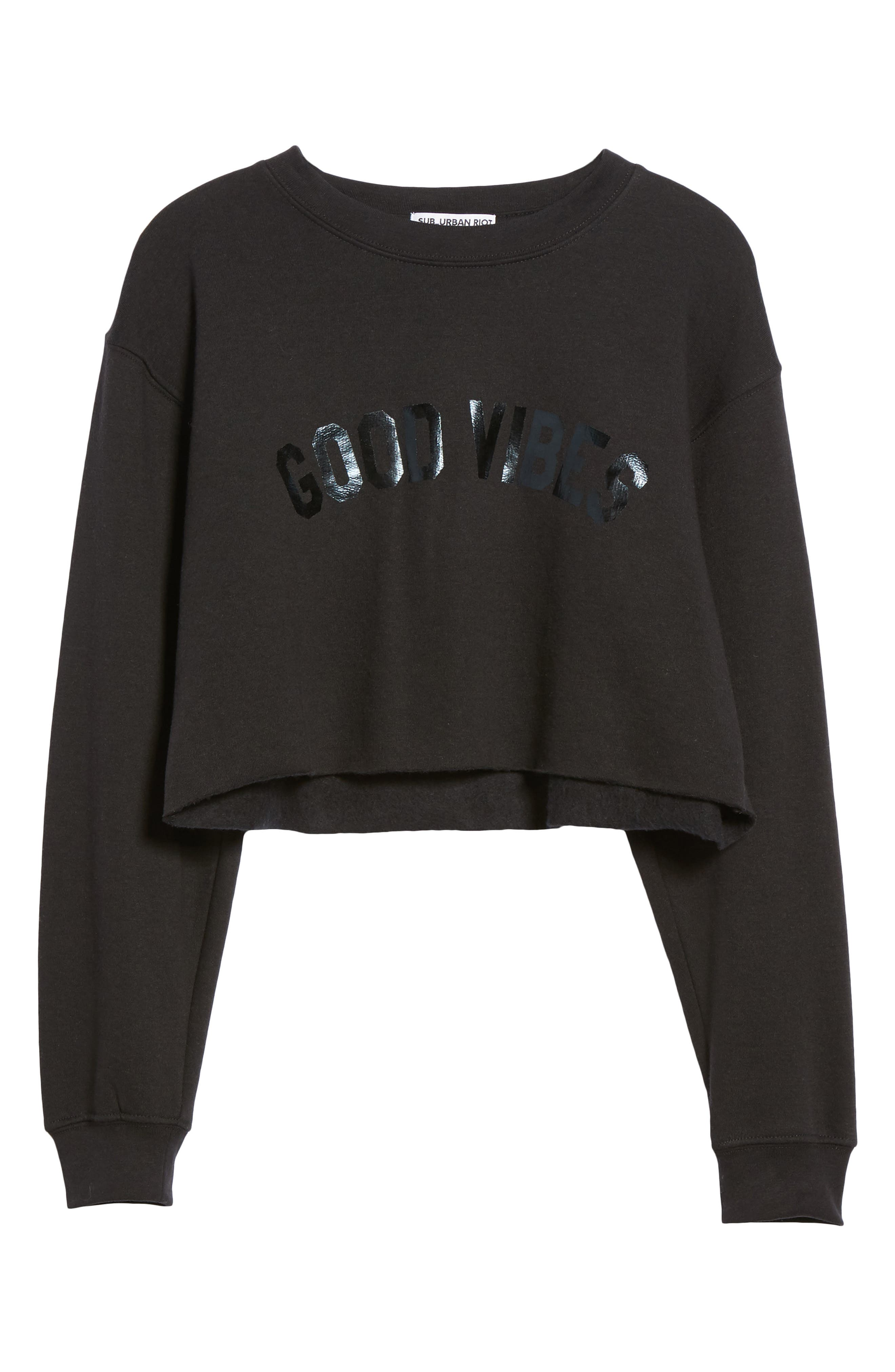 Alternate Image 6  - Sub_Urban Riot Good Vibes Gigi Crop Sweatshirt