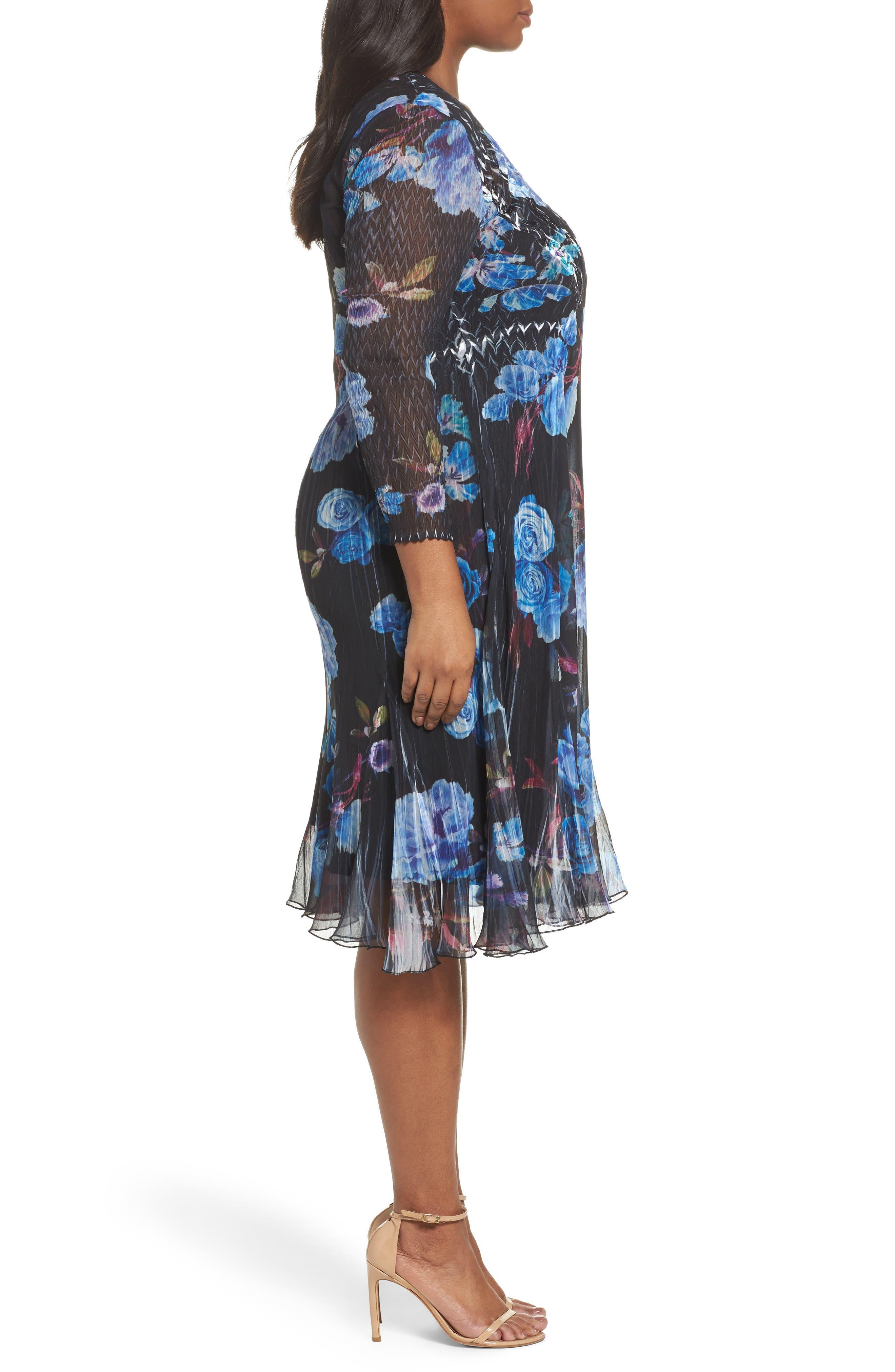 Floral Charmeuse & Chiffon A-Line Dress,                             Alternate thumbnail 3, color,                             Midnight Aurora