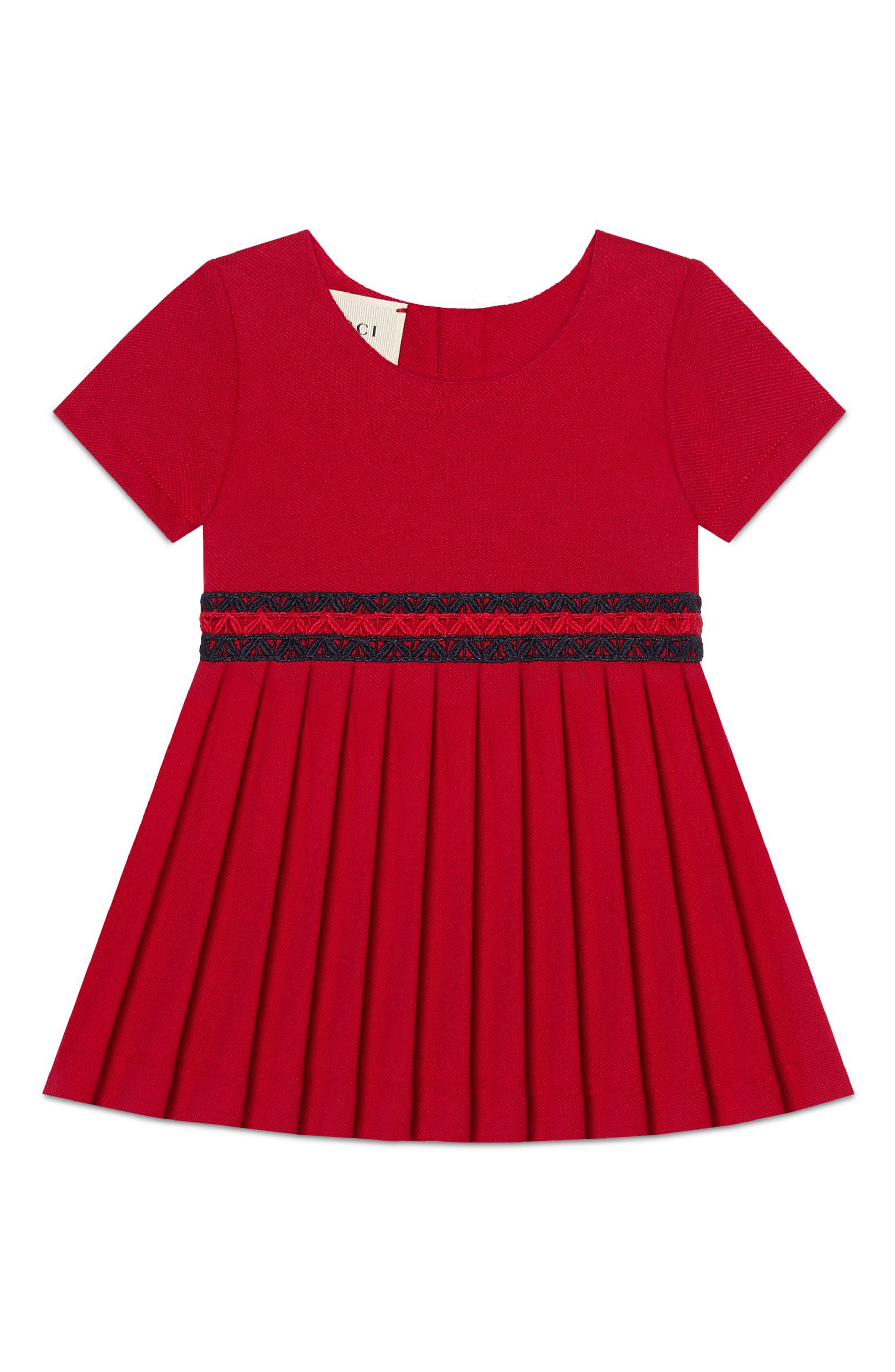 Stretch-Cotton Dress with Pleated Skirt,                             Main thumbnail 1, color,                             Cerese/ Nero