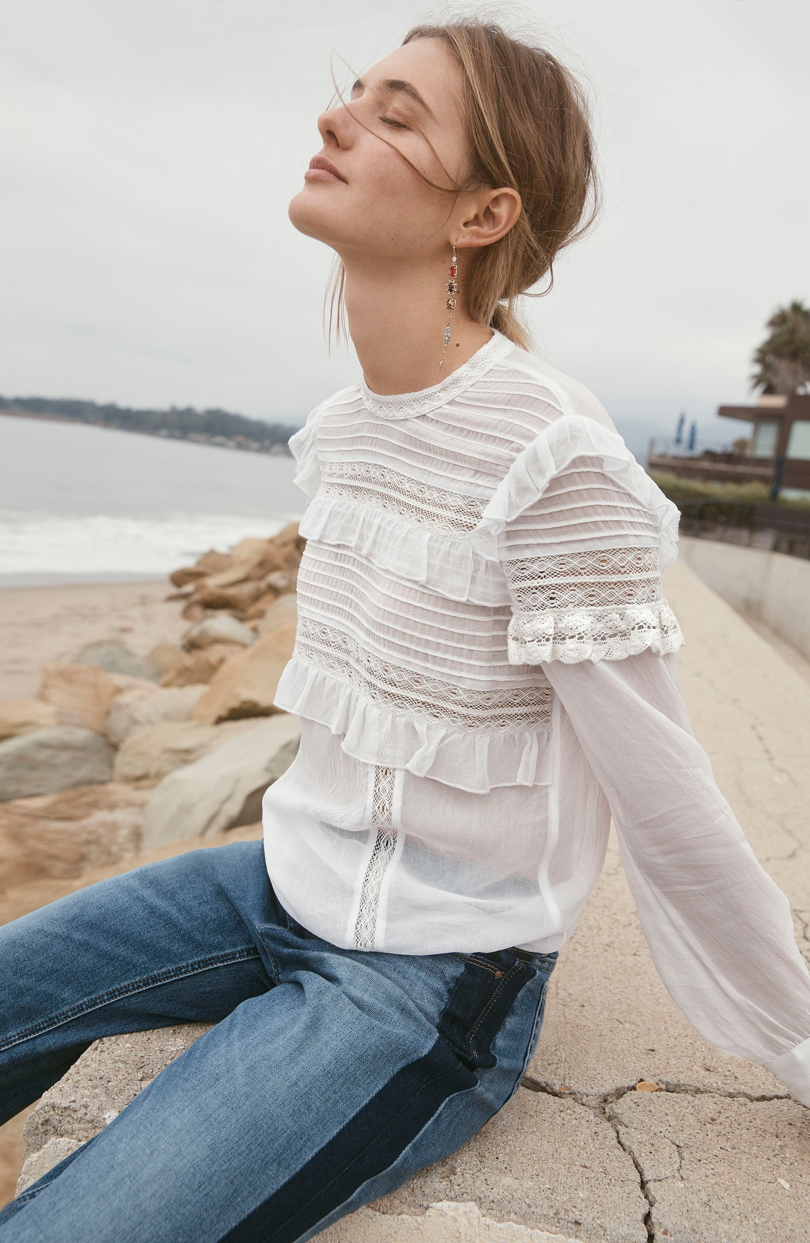 Ruffle Lace Top,                             Alternate thumbnail 2, color,                             Ivory