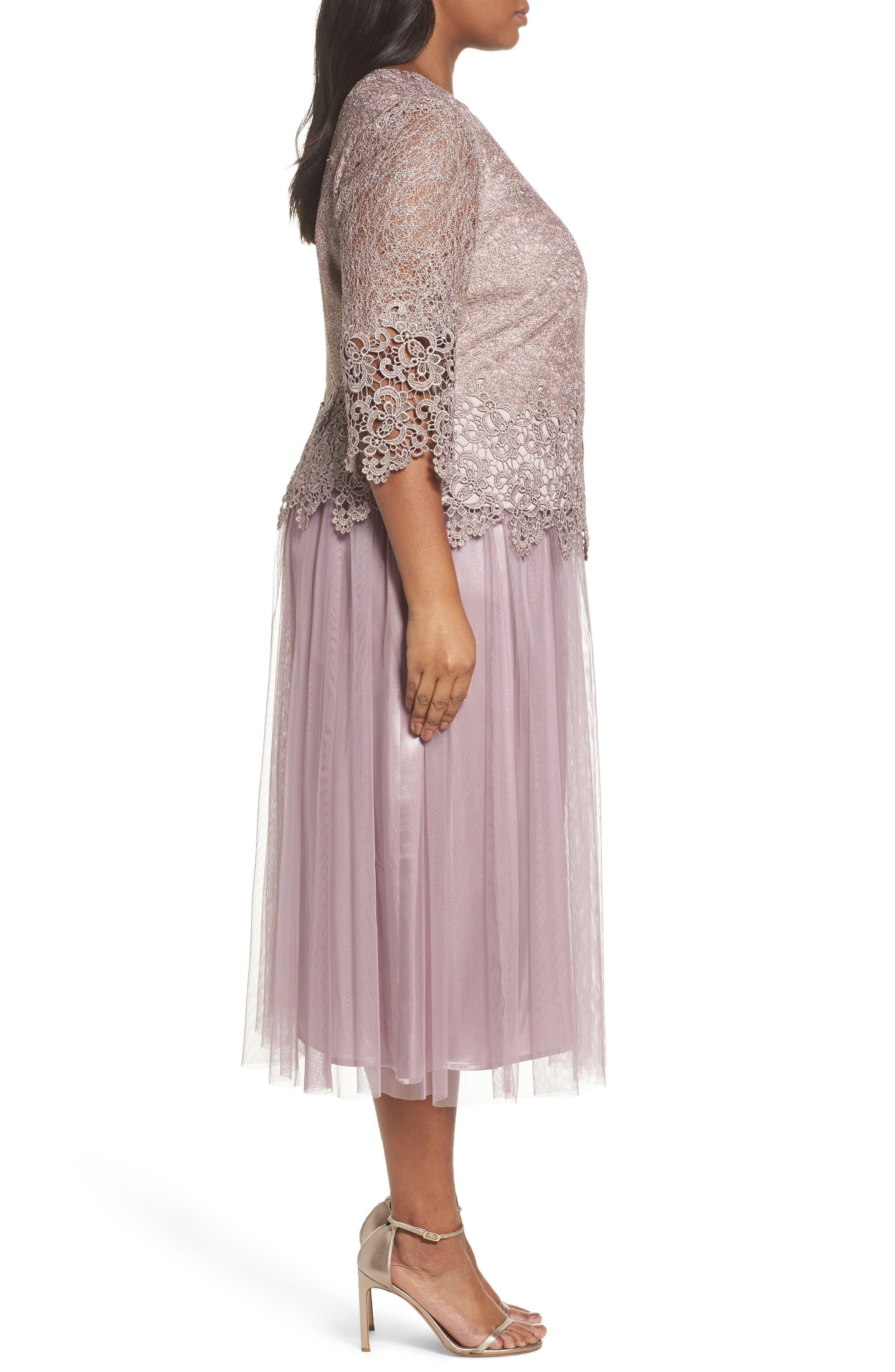 Embellished Mock Two-Piece Tea Length Dress,                             Alternate thumbnail 3, color,                             Rose