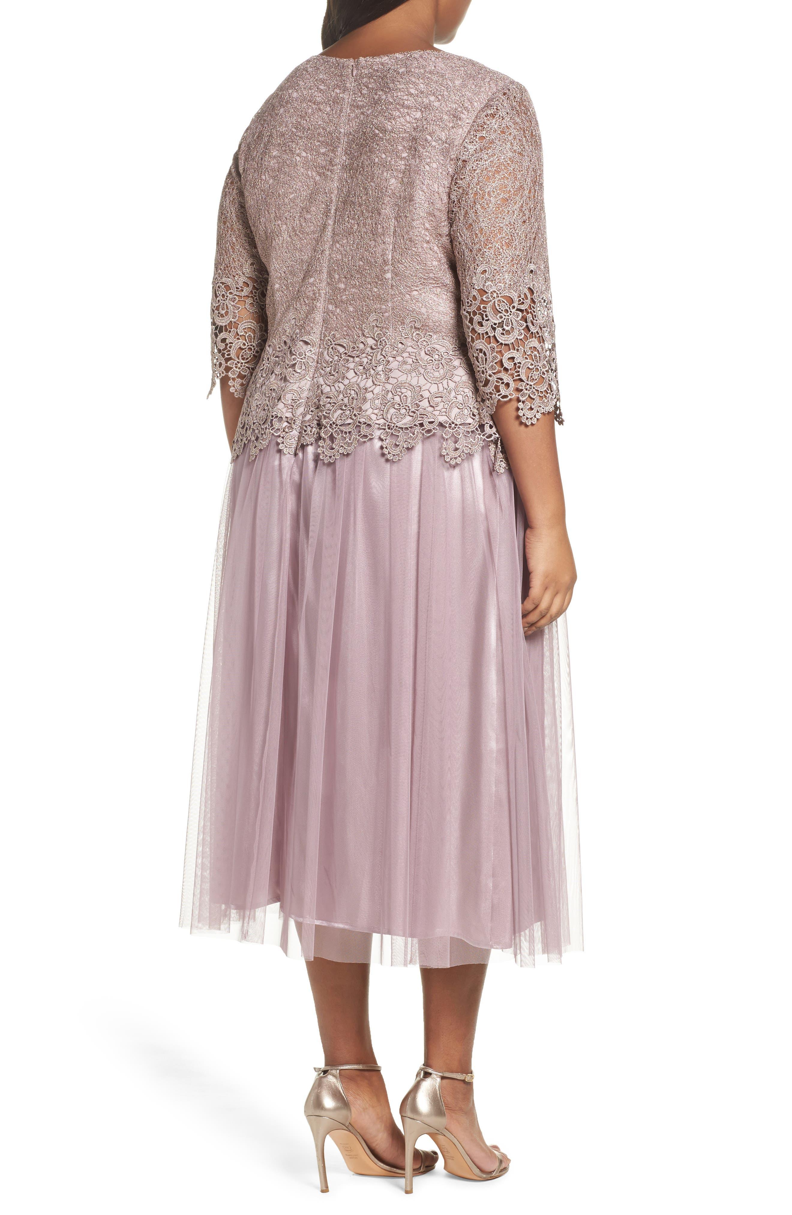 Embellished Mock Two-Piece Tea Length Dress,                             Alternate thumbnail 2, color,                             Rose