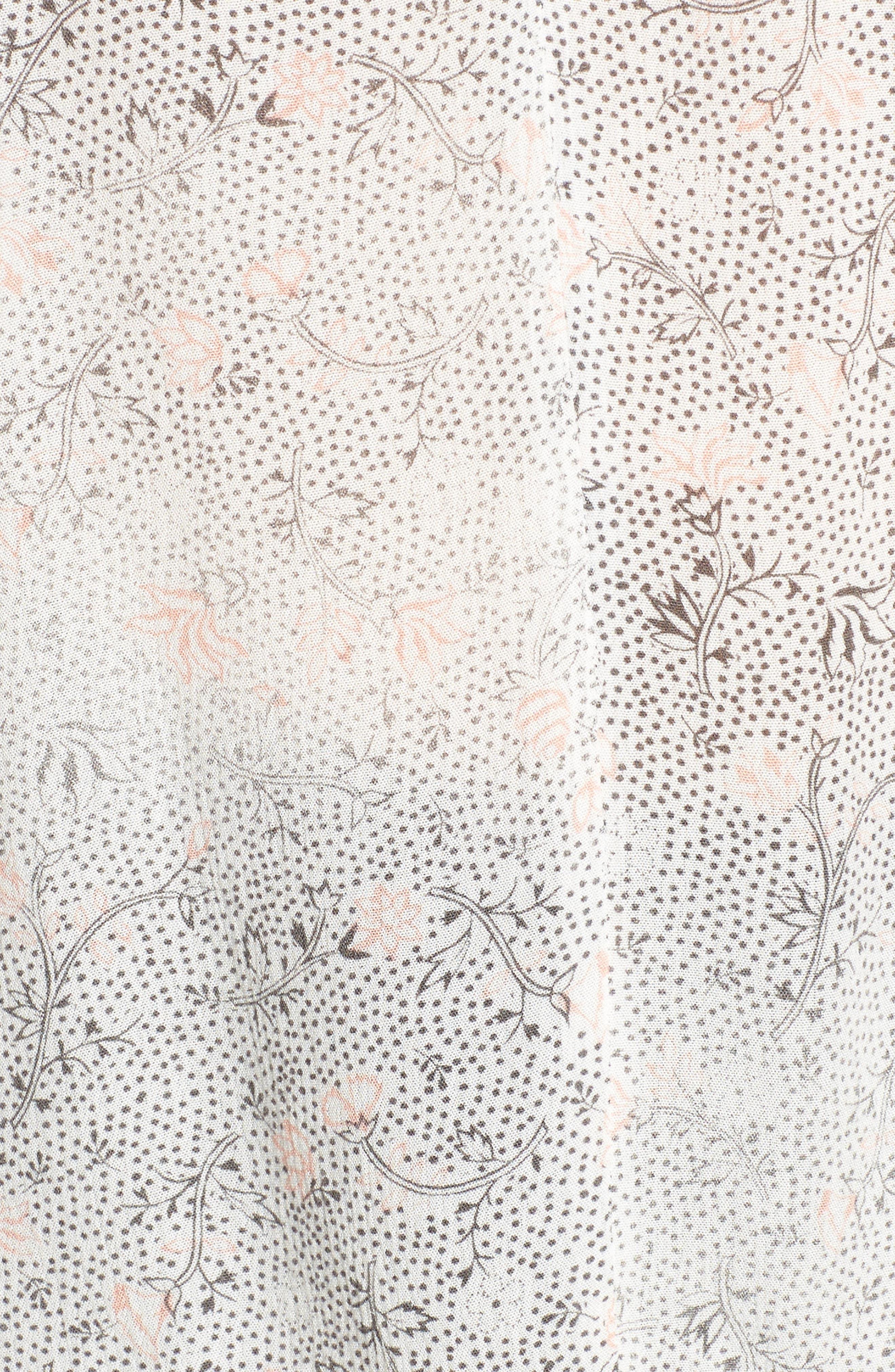 Karina Tie Cuff Top,                             Alternate thumbnail 5, color,                             True White/ Firebrick