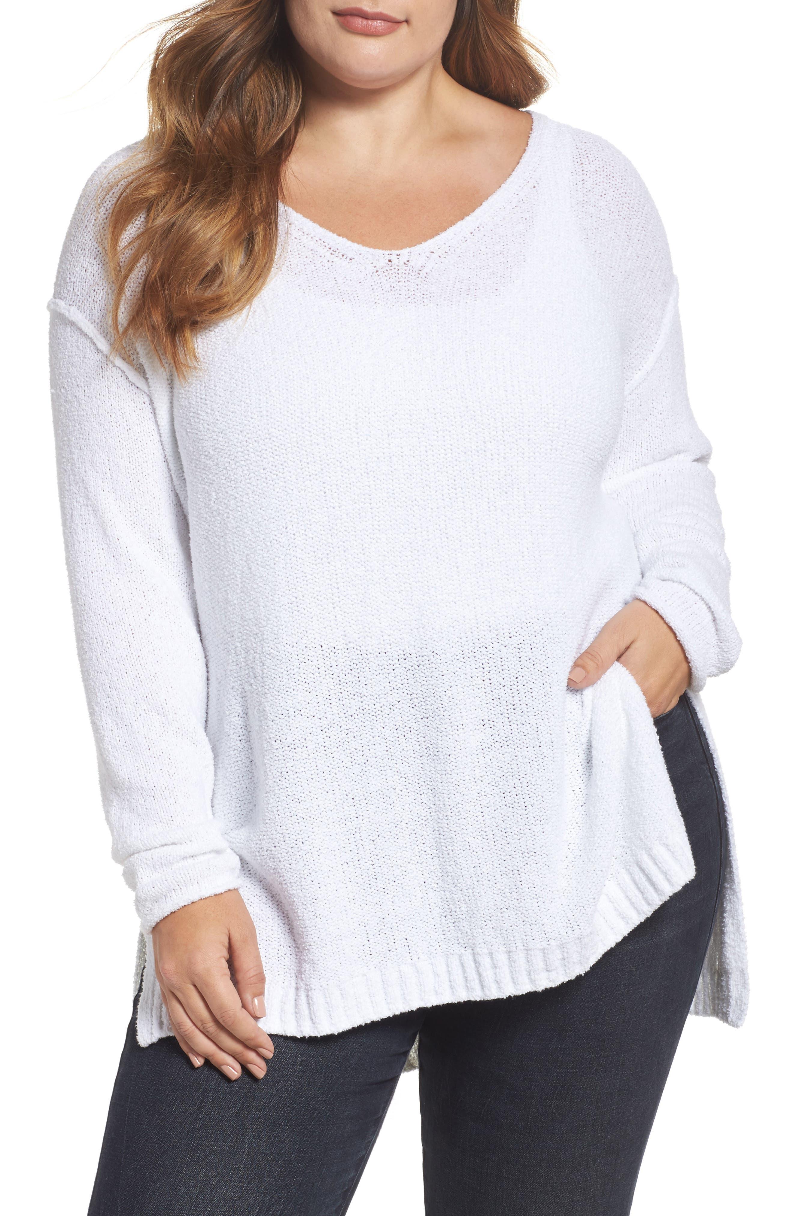 Caslon® Tunic Sweater (Plus Size)