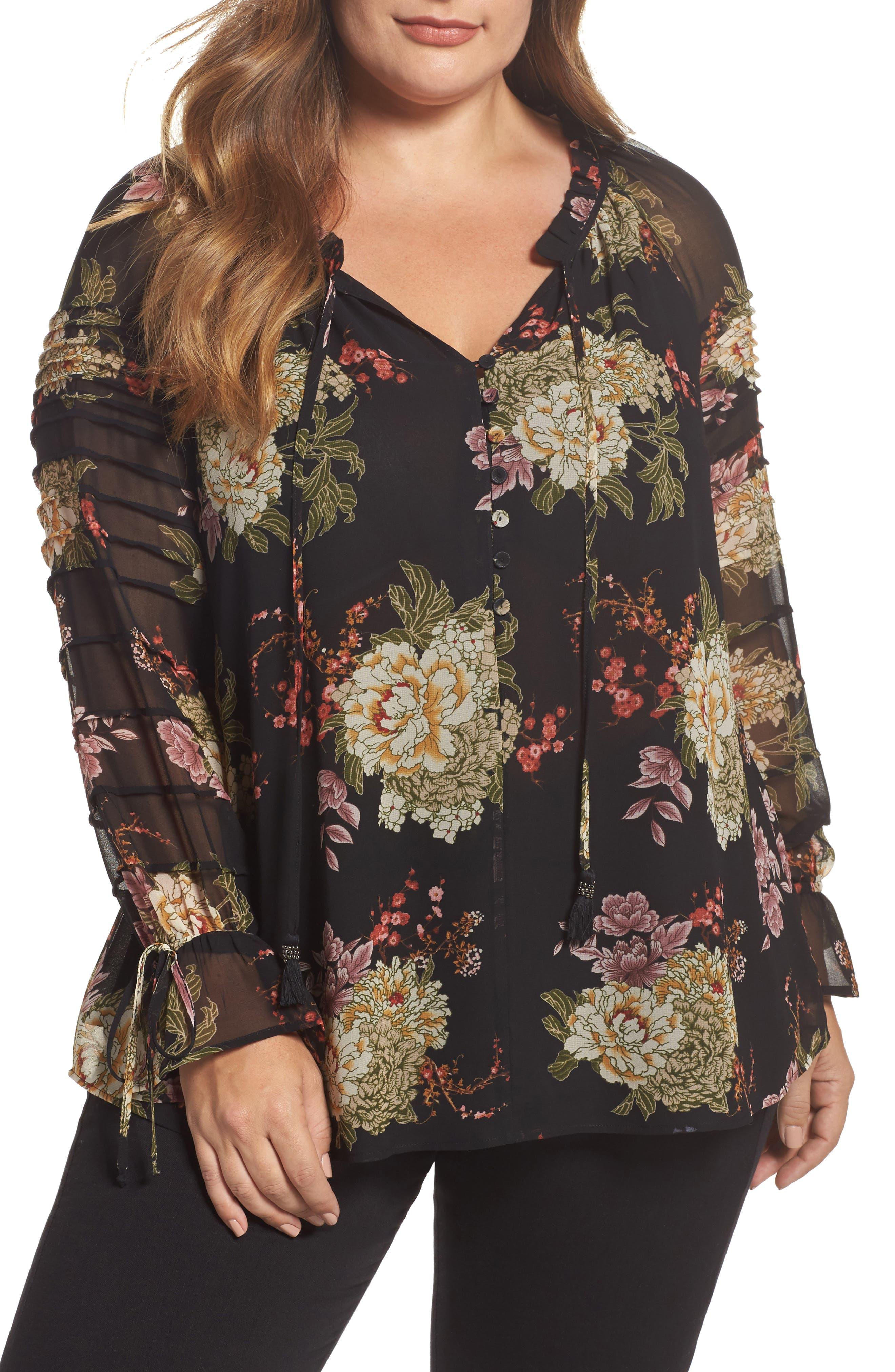 Daniel Rainn Floral Georgette Split Neck Blouse (Plus Size)