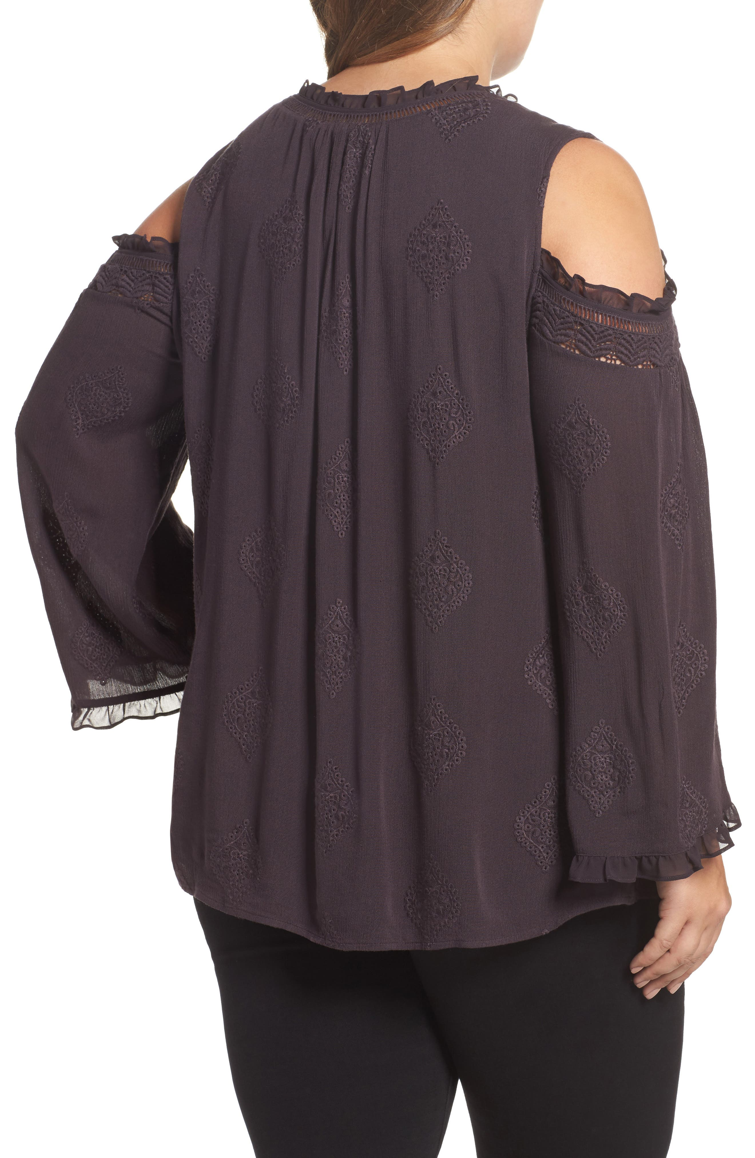 Embroidered Peasant Blouse,                             Alternate thumbnail 2, color,                             C453n Charcoal