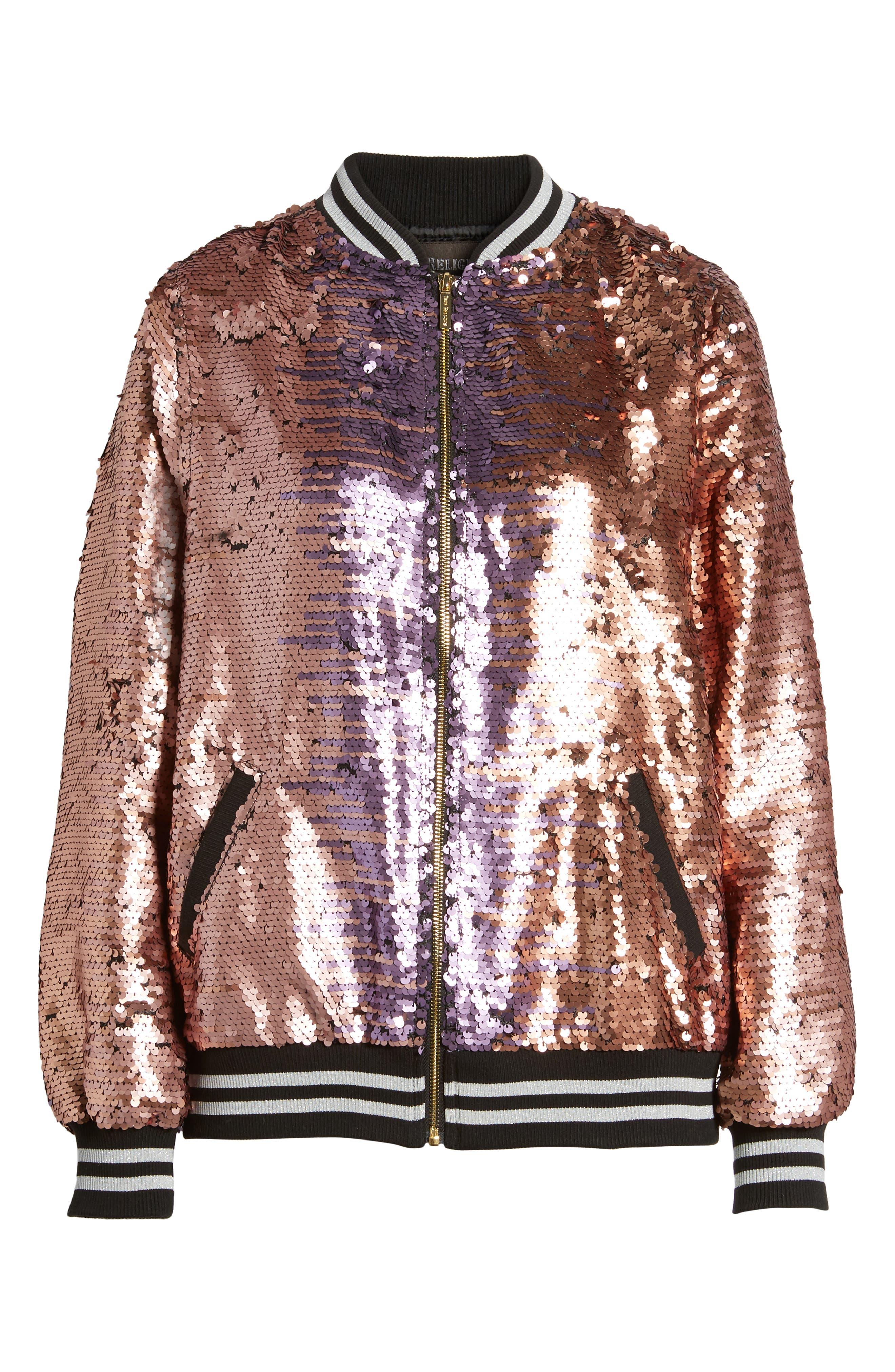 Pailette Bomber Jacket,                             Alternate thumbnail 8, color,                             Blush Purple