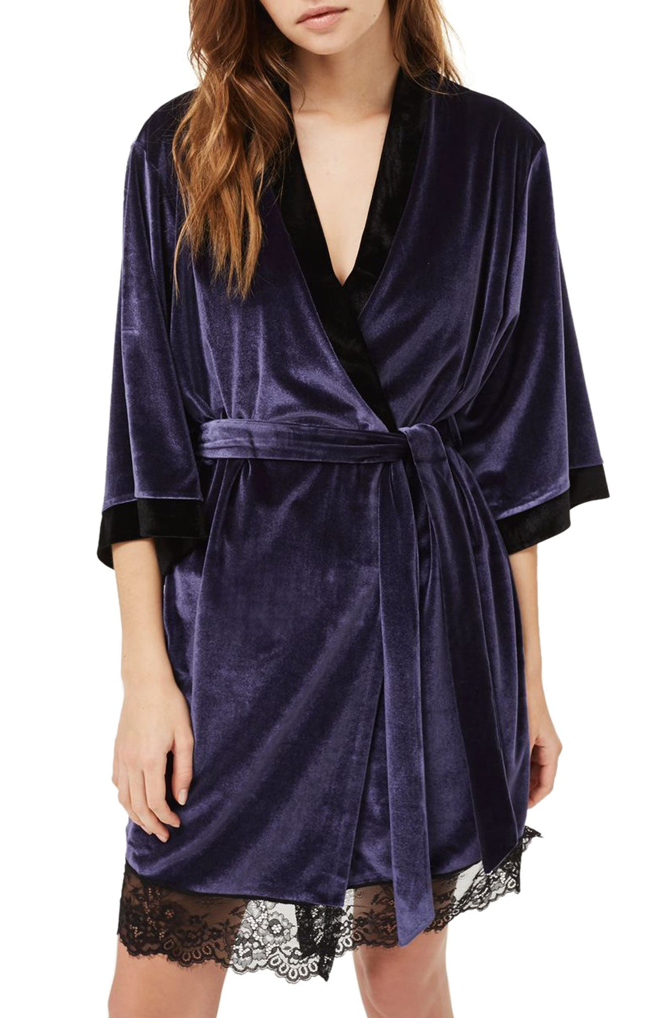 Nocturne Lace and Velvet Robe,                         Main,                         color, Navy Blue