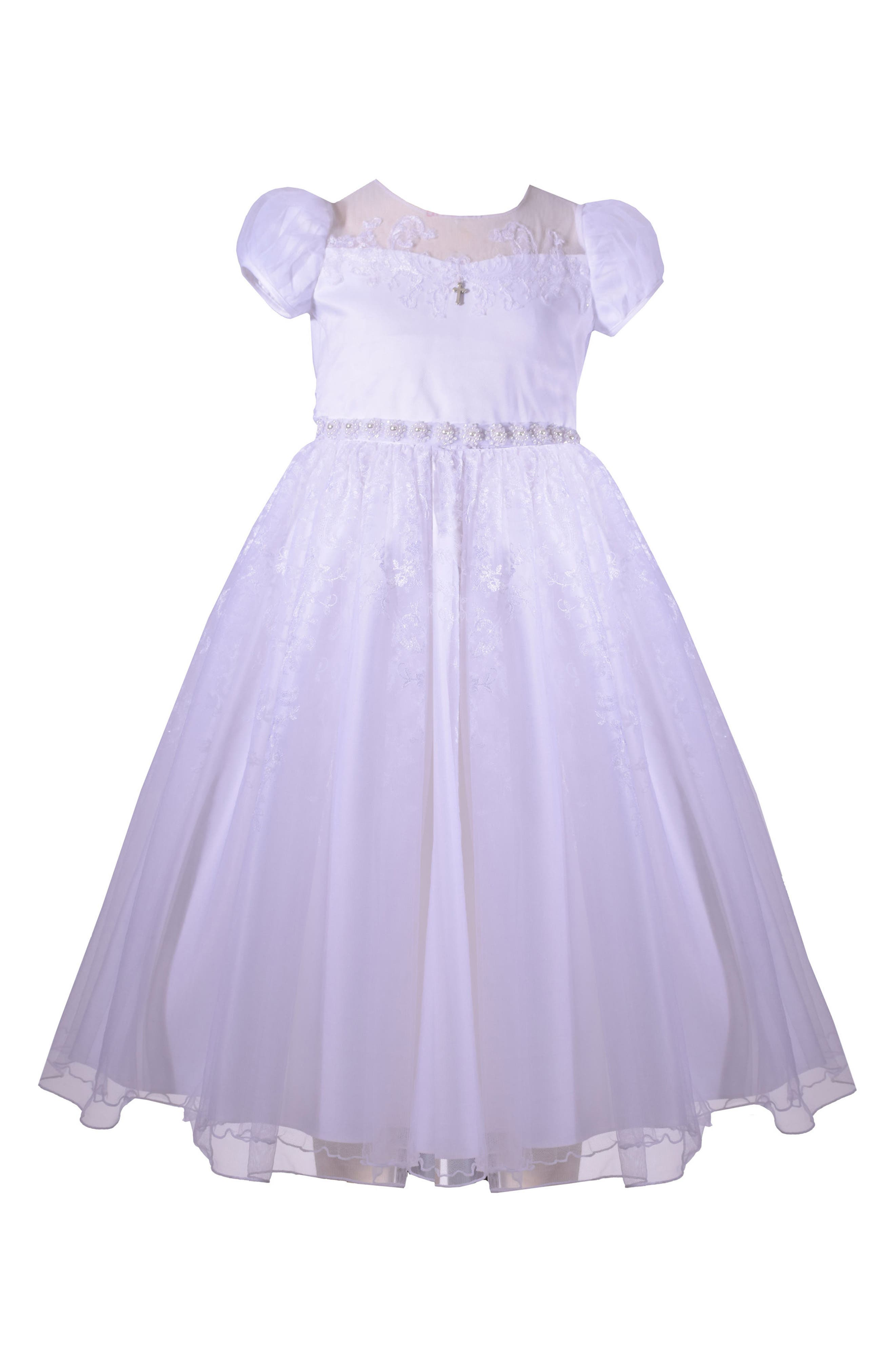 Puff Sleeve First Communion Dress,                         Main,                         color, White