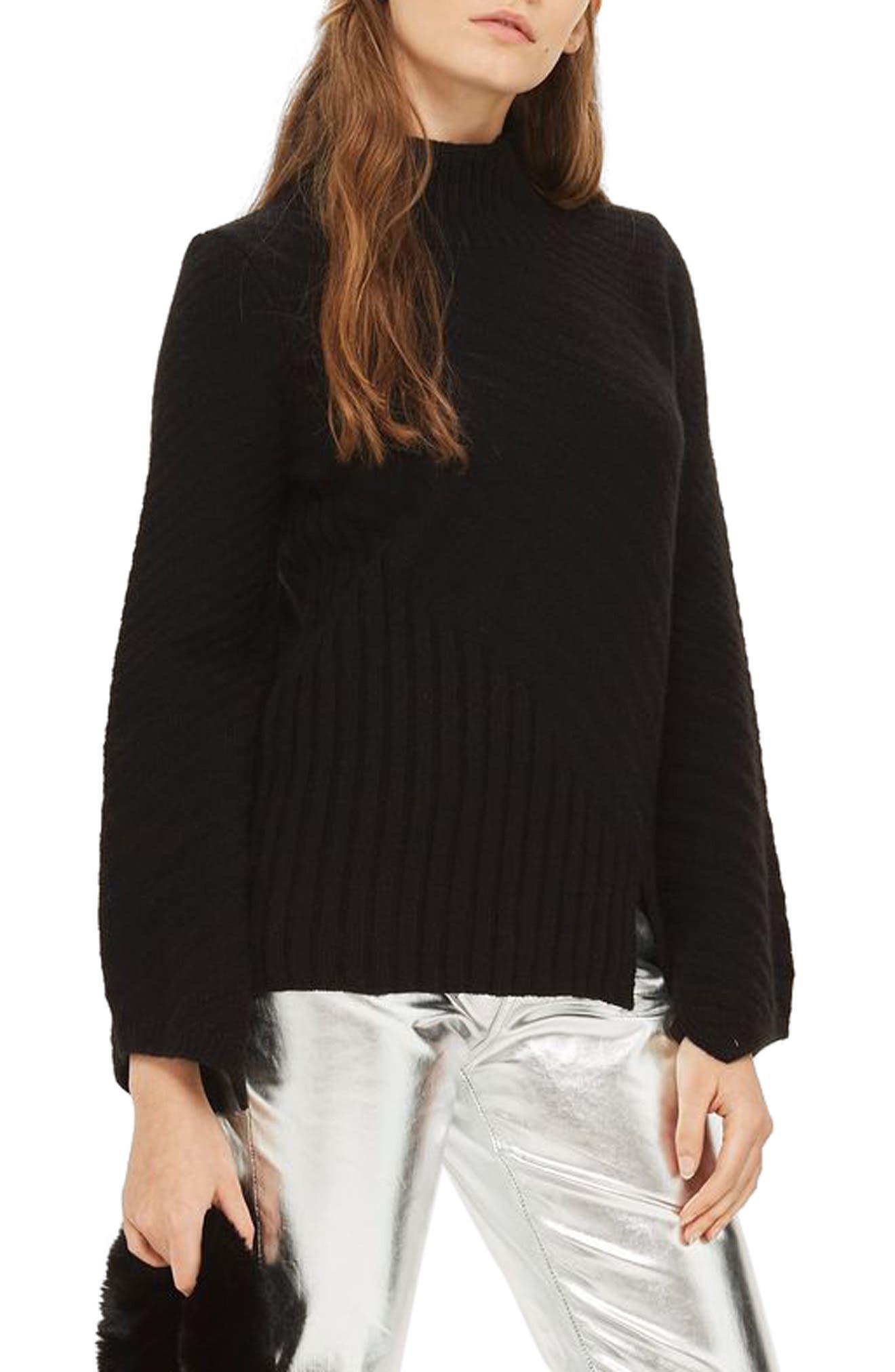 Asymmetrical Ribbed Funnel Neck Sweater,                             Alternate thumbnail 3, color,                             Black