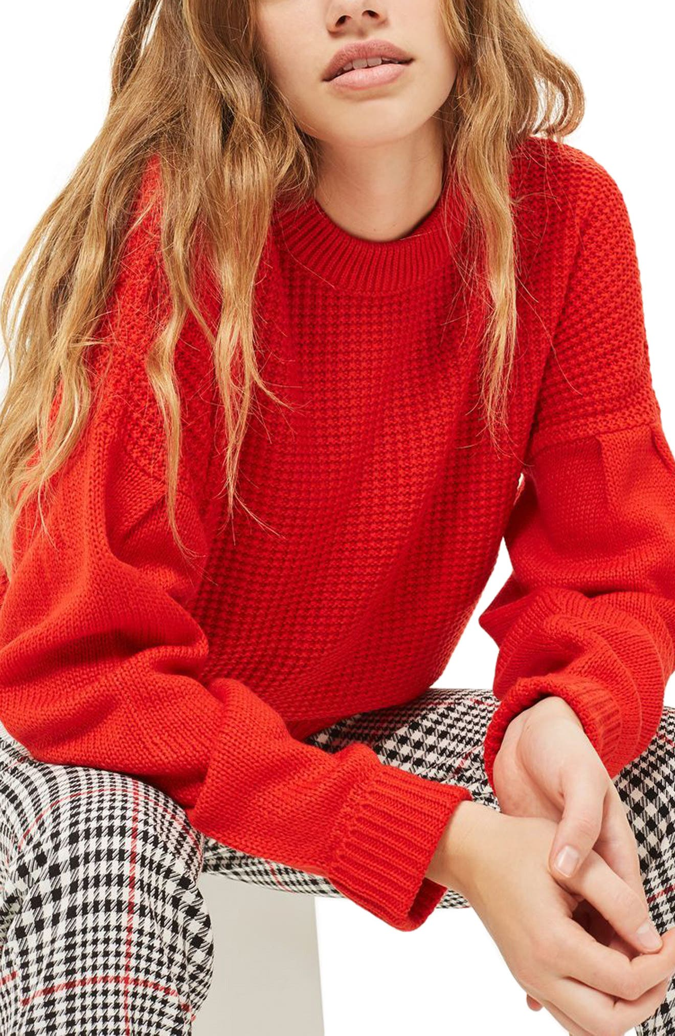 Topshop Pleat Sleeve Sweater