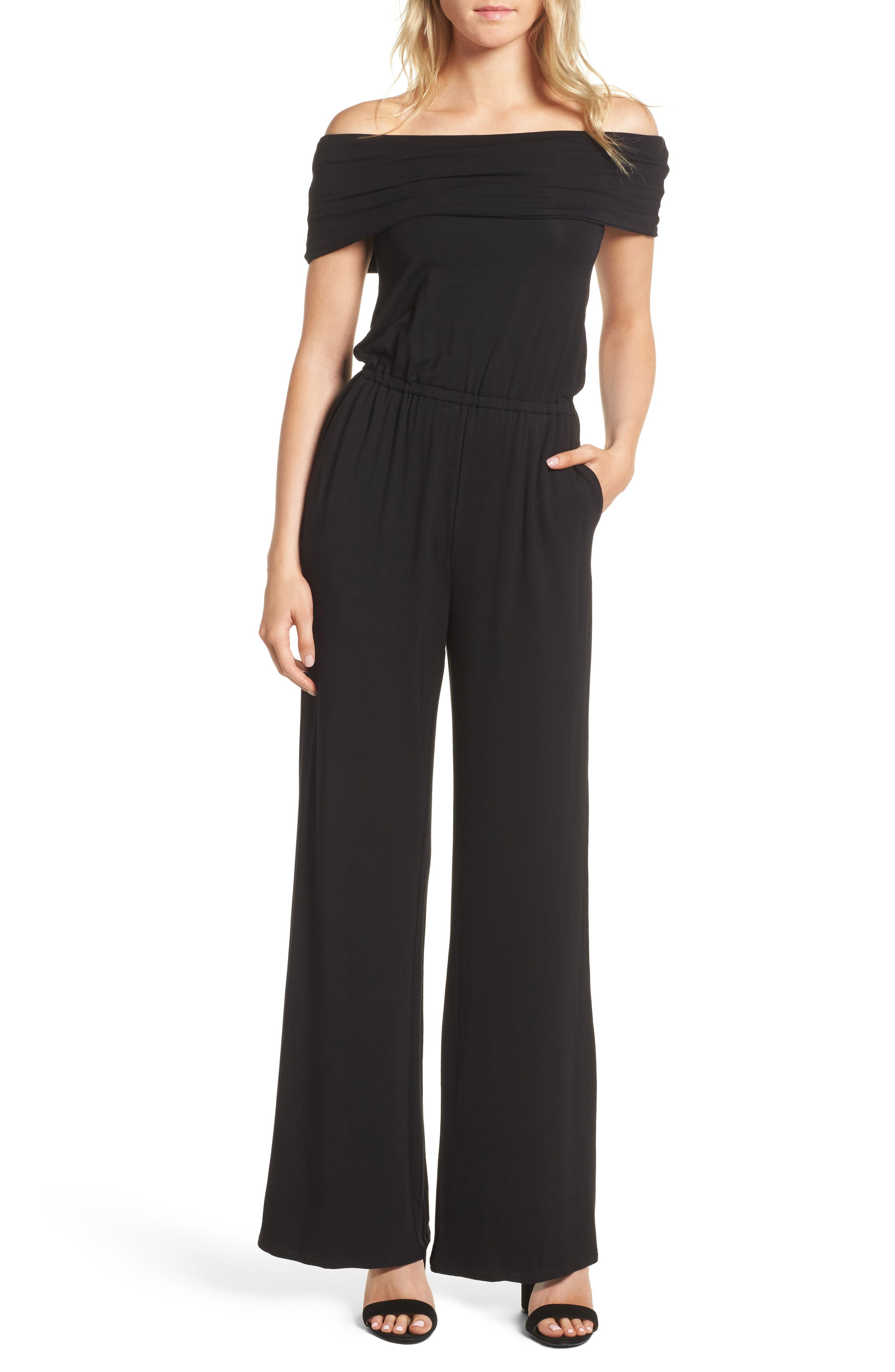 cupcakes and cashmere Farida Off the Shoulder Jumpsuit