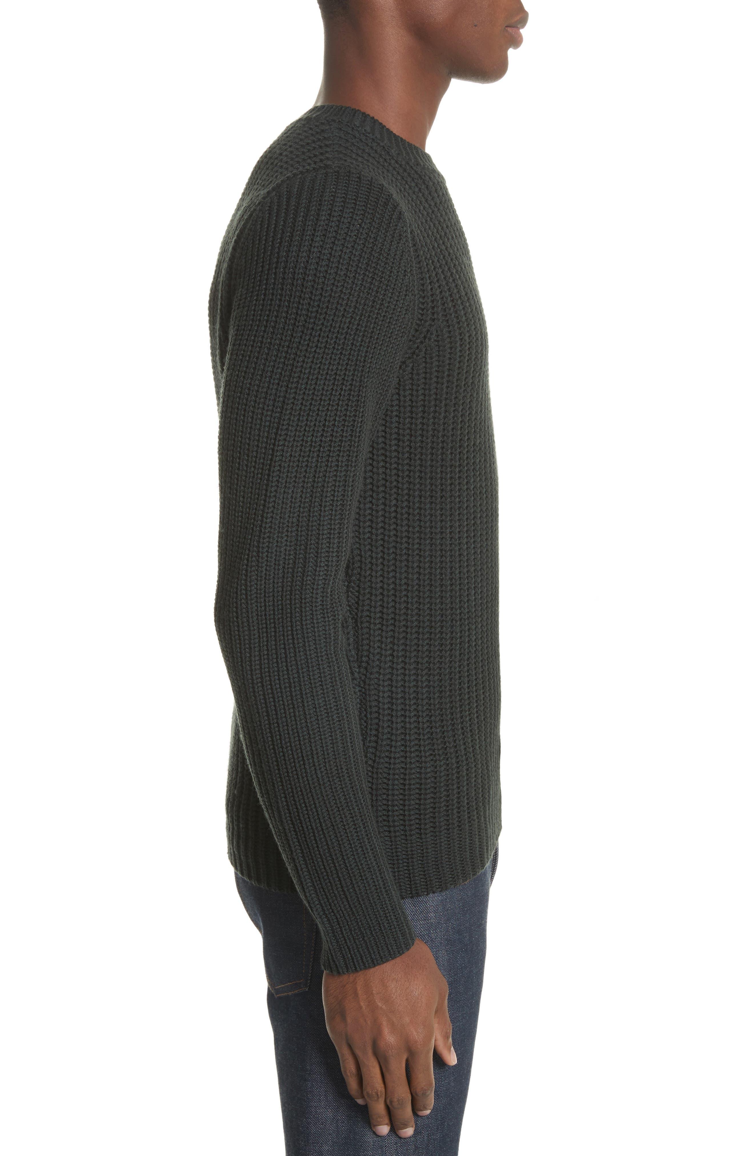 Pull Berger Merino Wool Sweater,                             Alternate thumbnail 3, color,                             Khaki Green