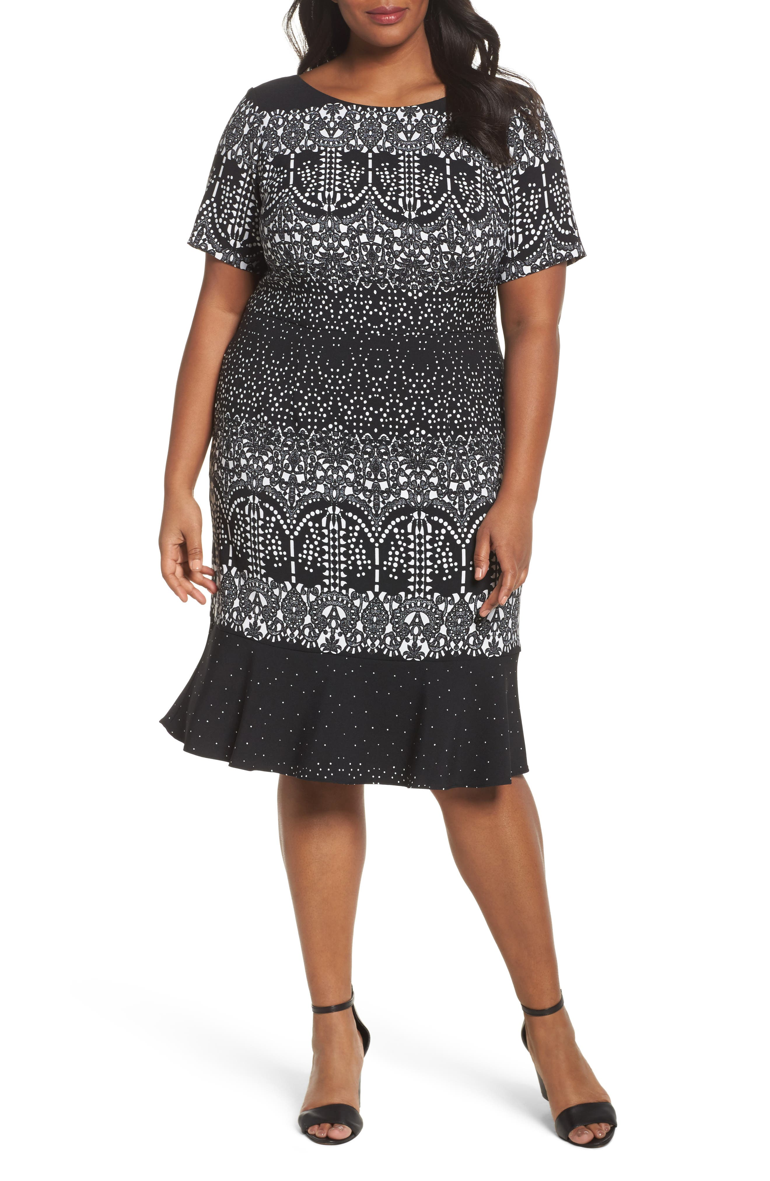 Lace Majesty Print Fit & Flare Dress,                         Main,                         color, Black Multi