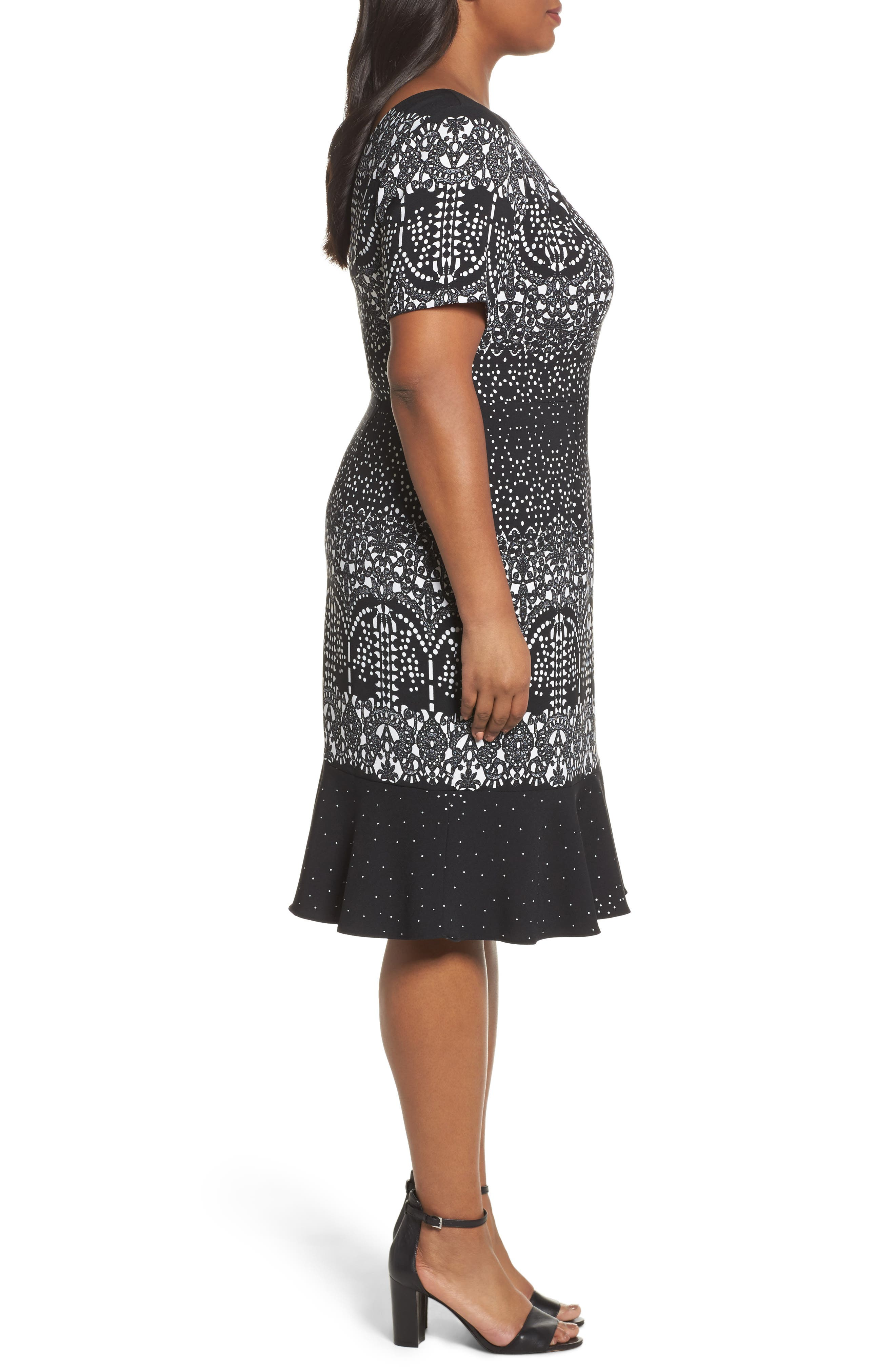 Lace Majesty Print Fit & Flare Dress,                             Alternate thumbnail 3, color,                             Black Multi