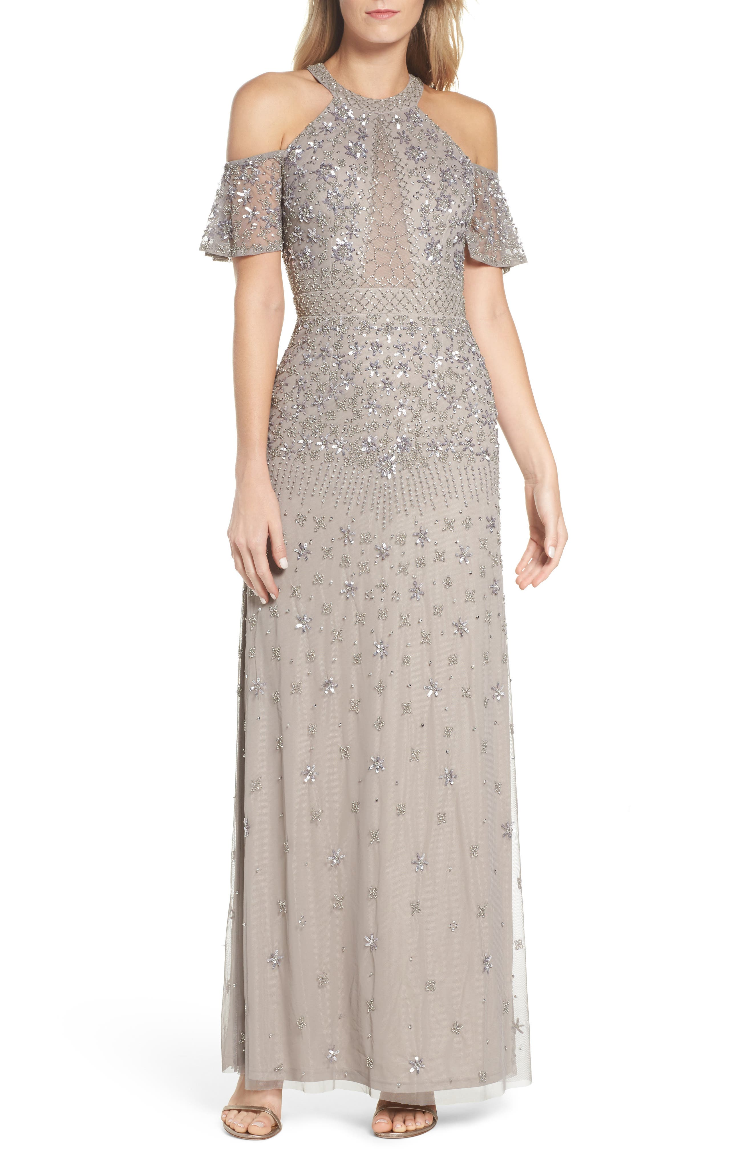 Beaded Cold Shoulder Gown,                         Main,                         color, Platinum