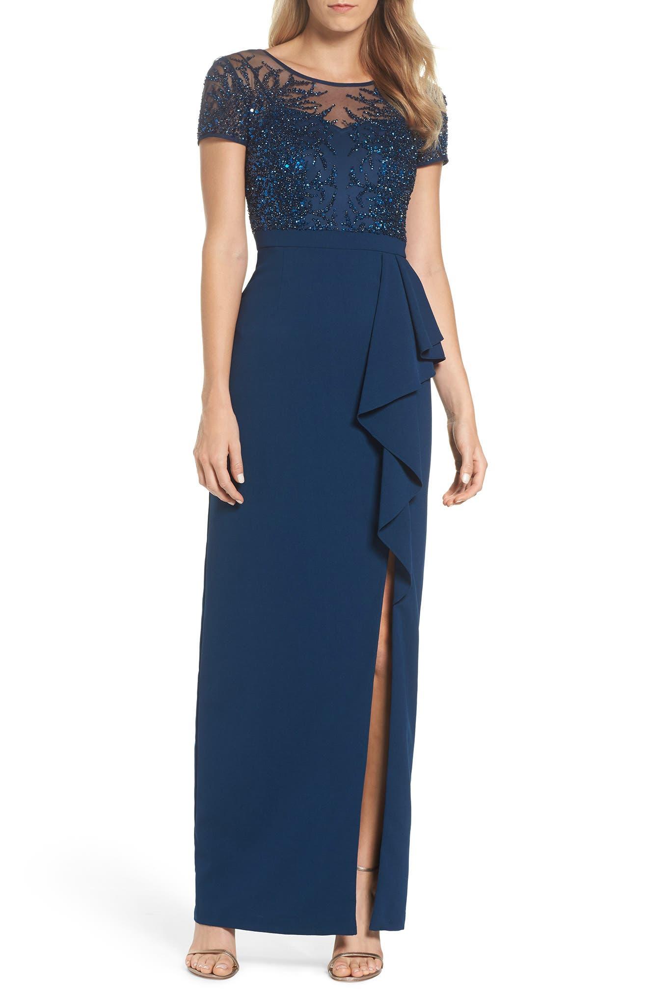 Beaded Bodice Ruffle Gown,                         Main,                         color, Deep Blue