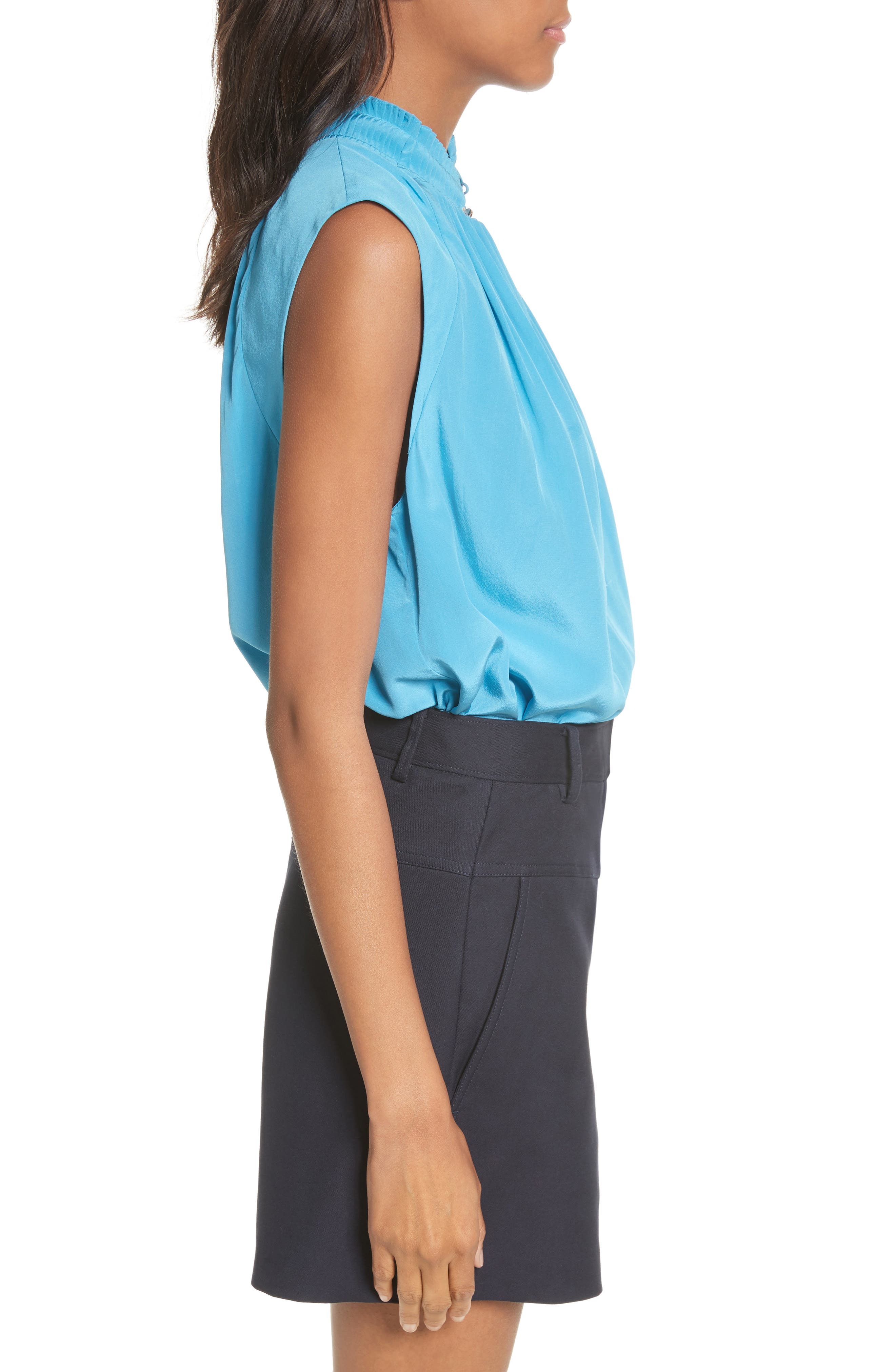 Arielle Sleeveless Silk Top,                             Alternate thumbnail 3, color,                             Bowery Blue