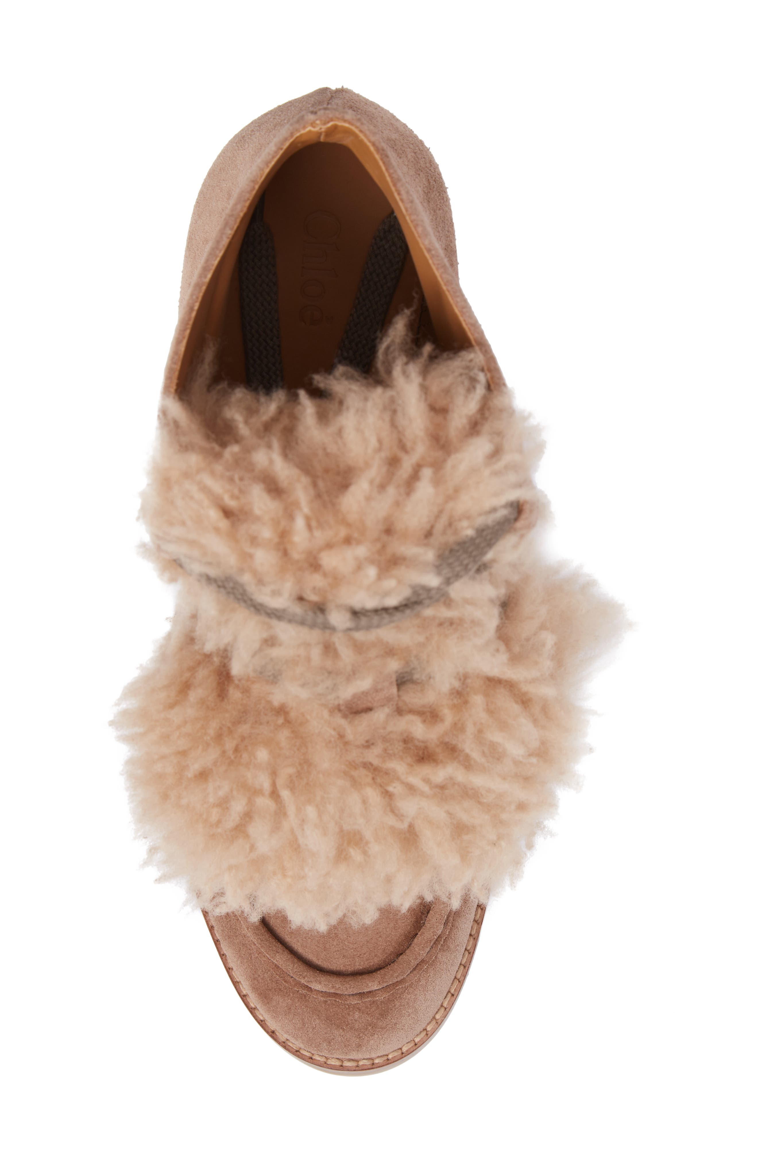 Peggy Genuine Shearling Wedge Bootie,                             Alternate thumbnail 5, color,                             Latte Brown Suede