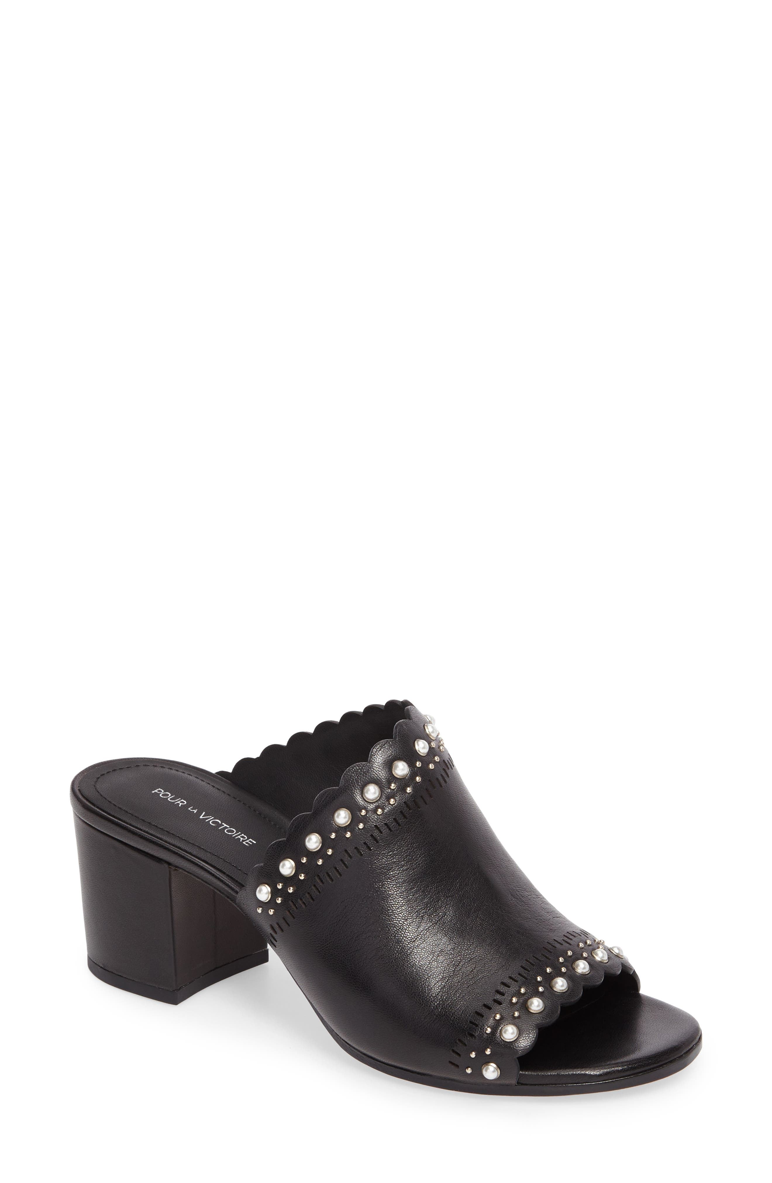 cf55ccd48bc84 Pour La Victoire Women S Amela Embellished Leather Block Heel Slide Sandals  In Black