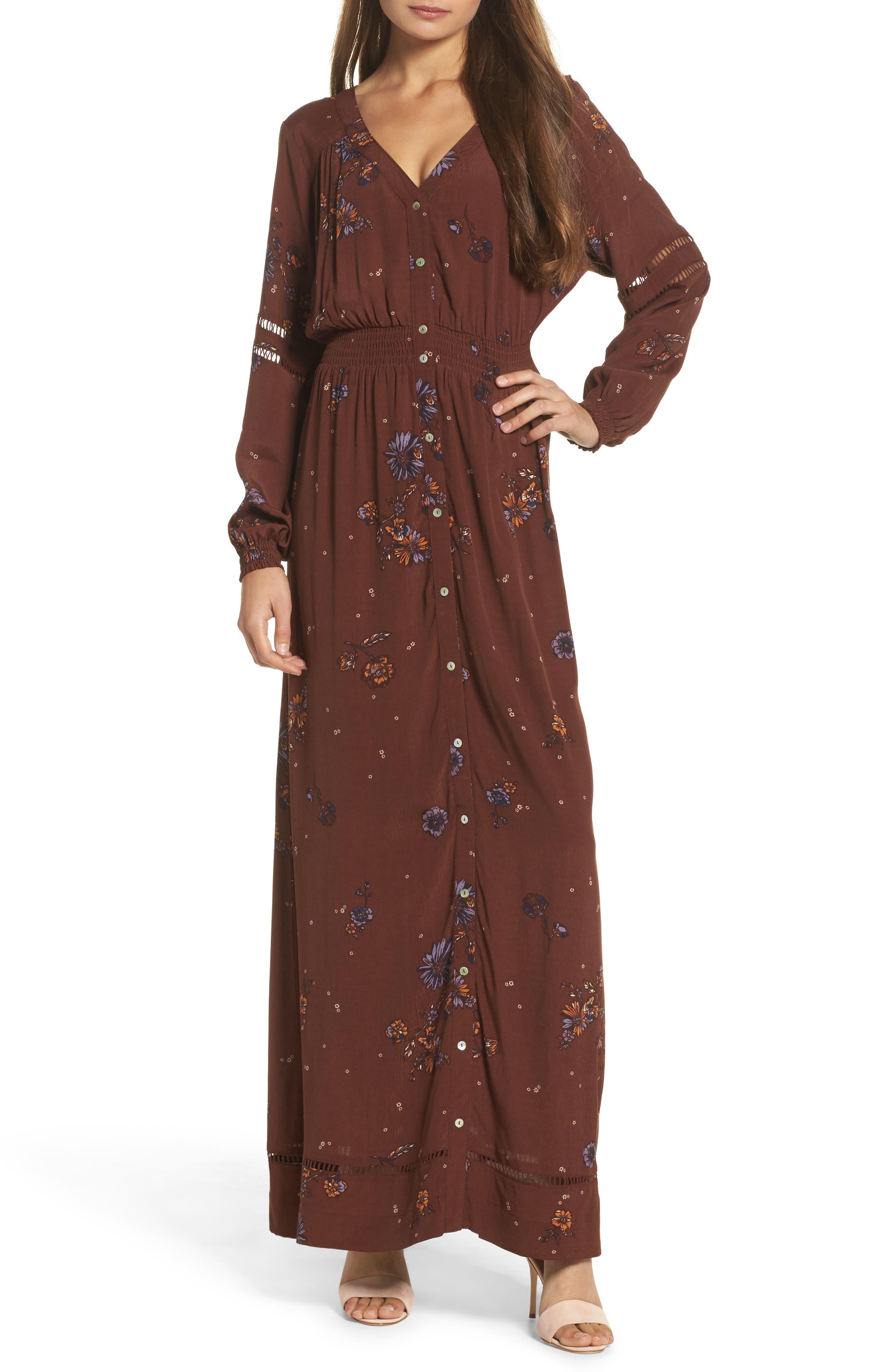 Jenny Maxi Dress,                             Main thumbnail 1, color,                             Dark Chocolate Pansies