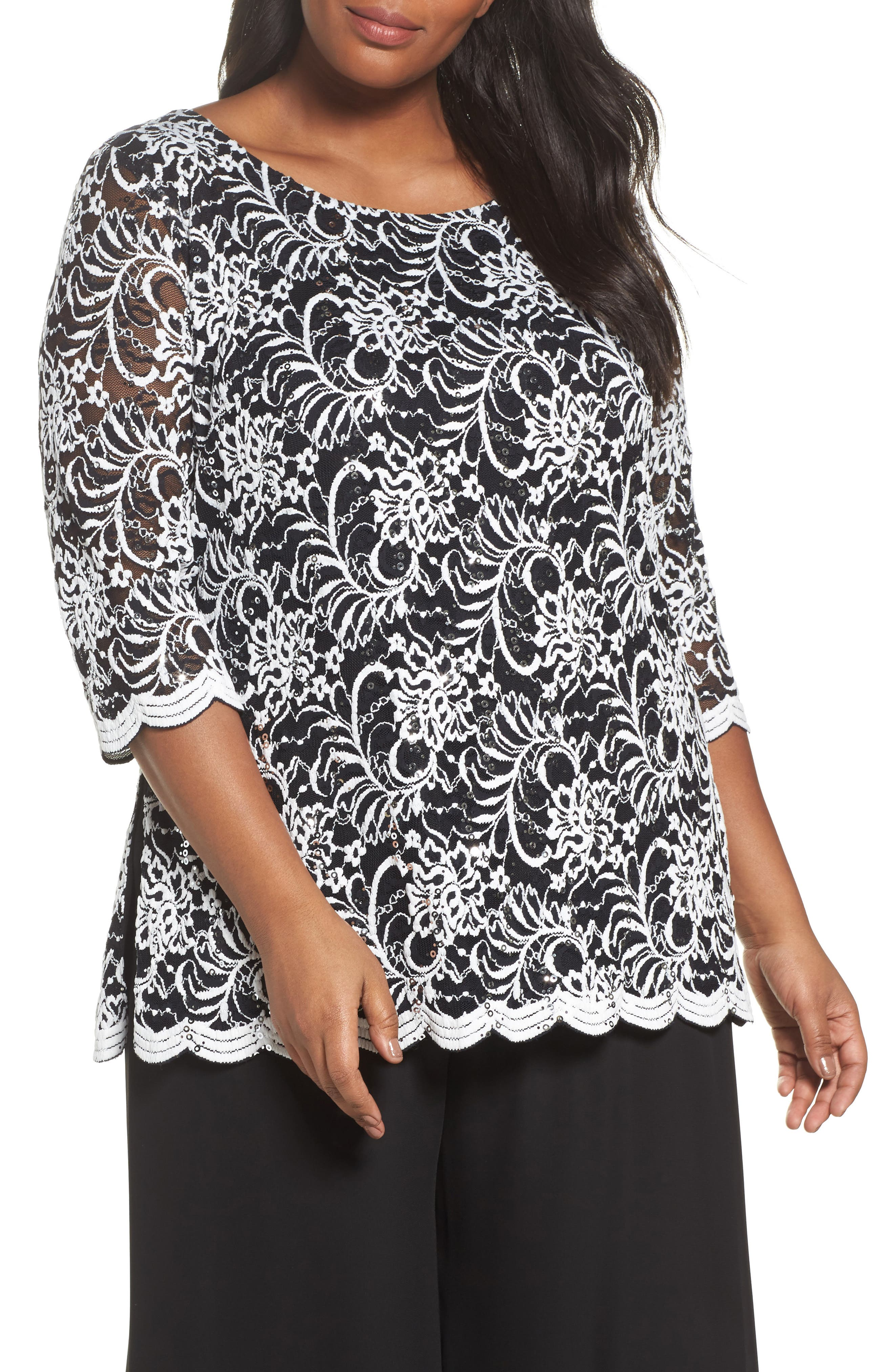 Embroidered Tulle Blouse,                         Main,                         color, Black/ White