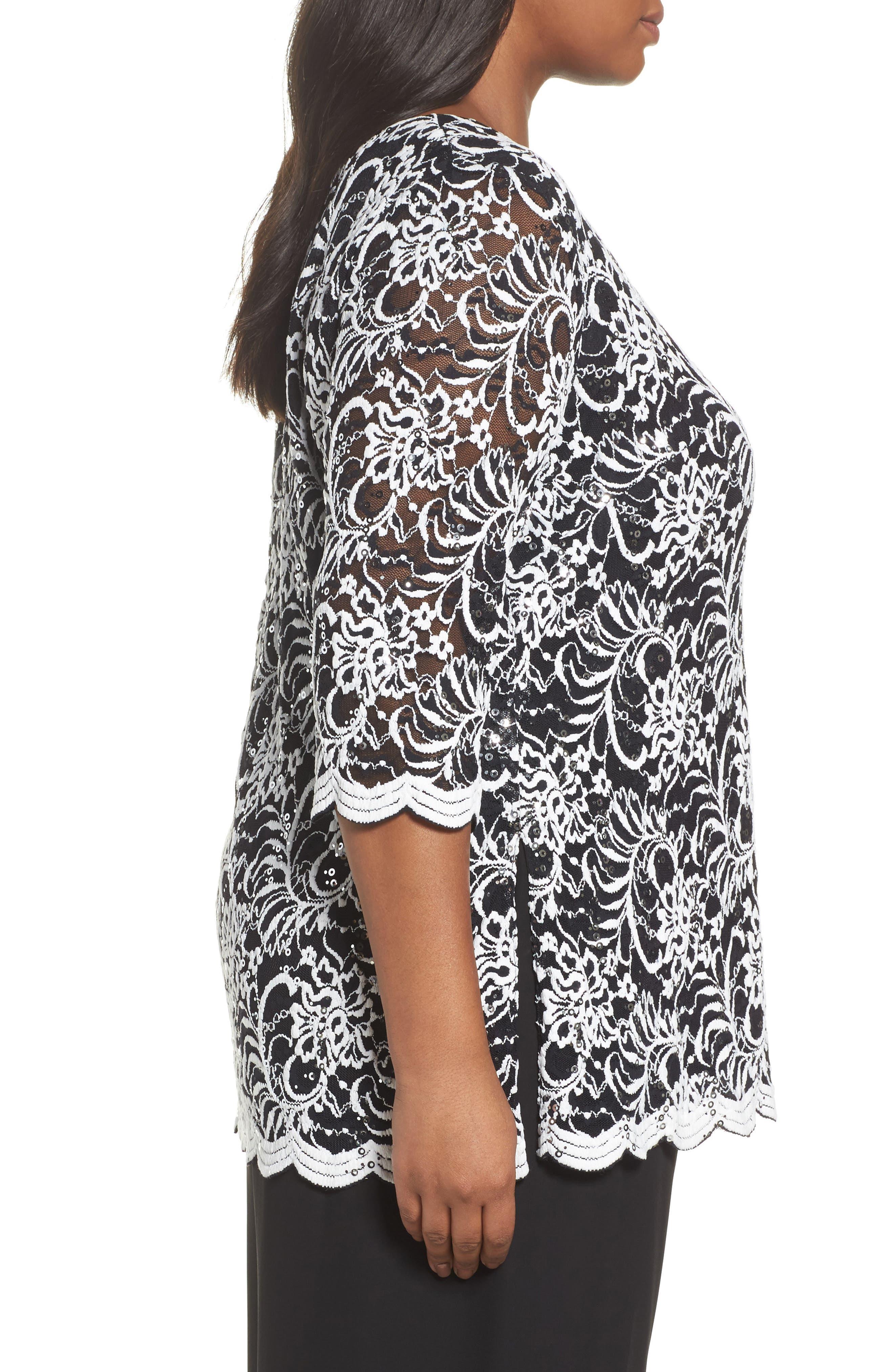 Embroidered Tulle Blouse,                             Alternate thumbnail 3, color,                             Black/ White