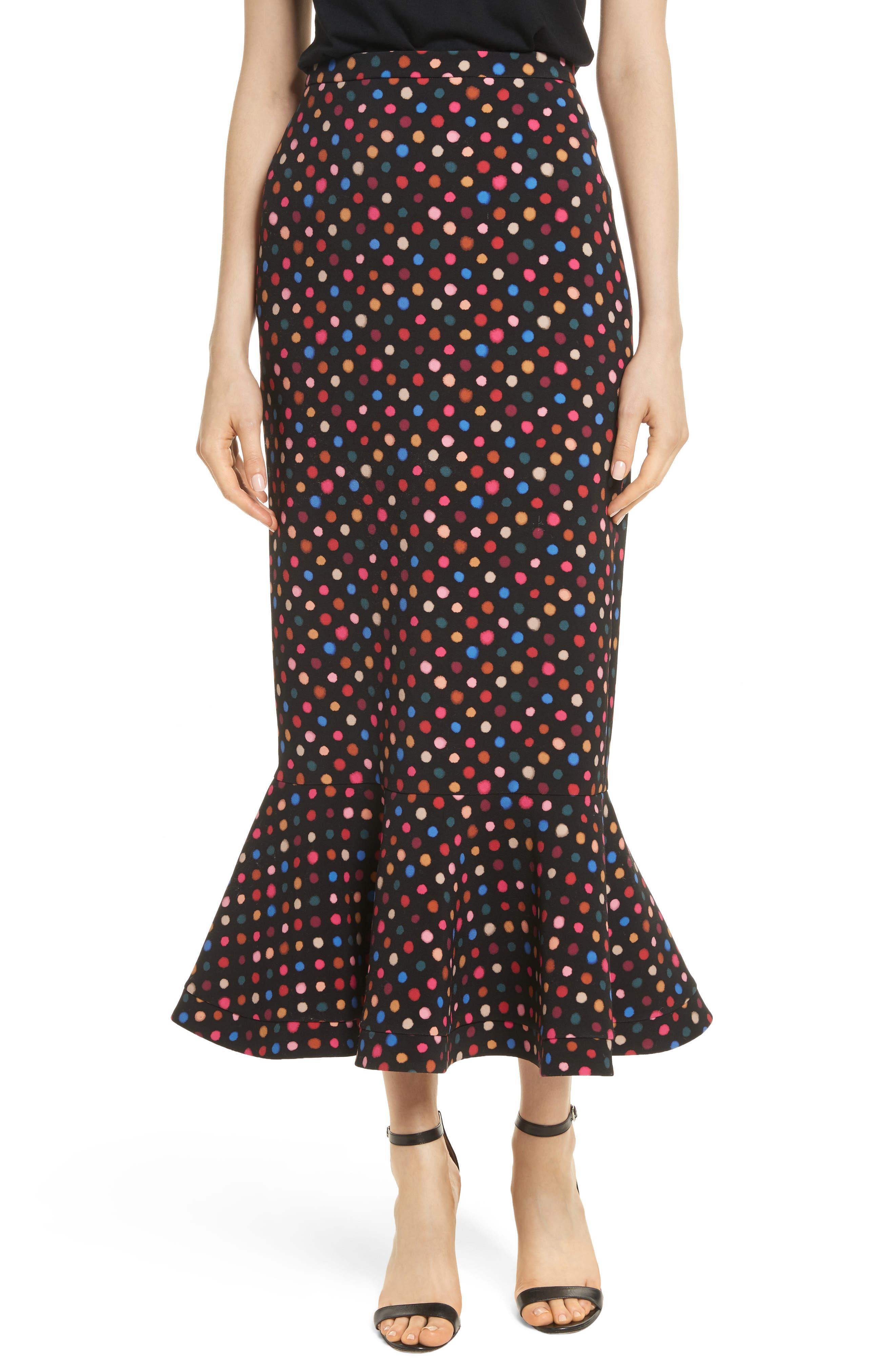 Portia Polka Dot Trumpet Skirt,                         Main,                         color, Rainbow Polka
