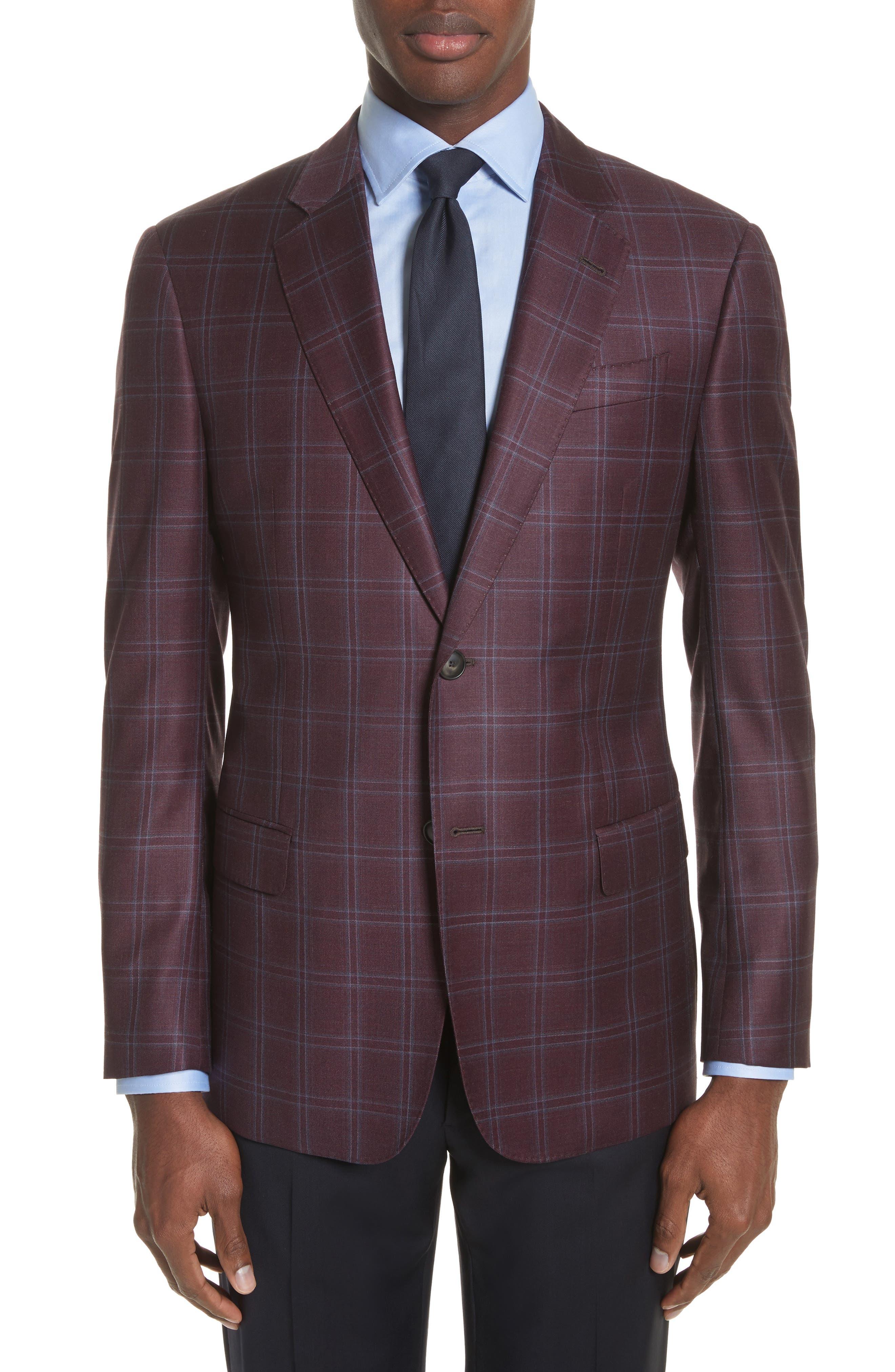 G Line Trim Fit Windowpane Wool Sport Coat,                         Main,                         color, Merlot