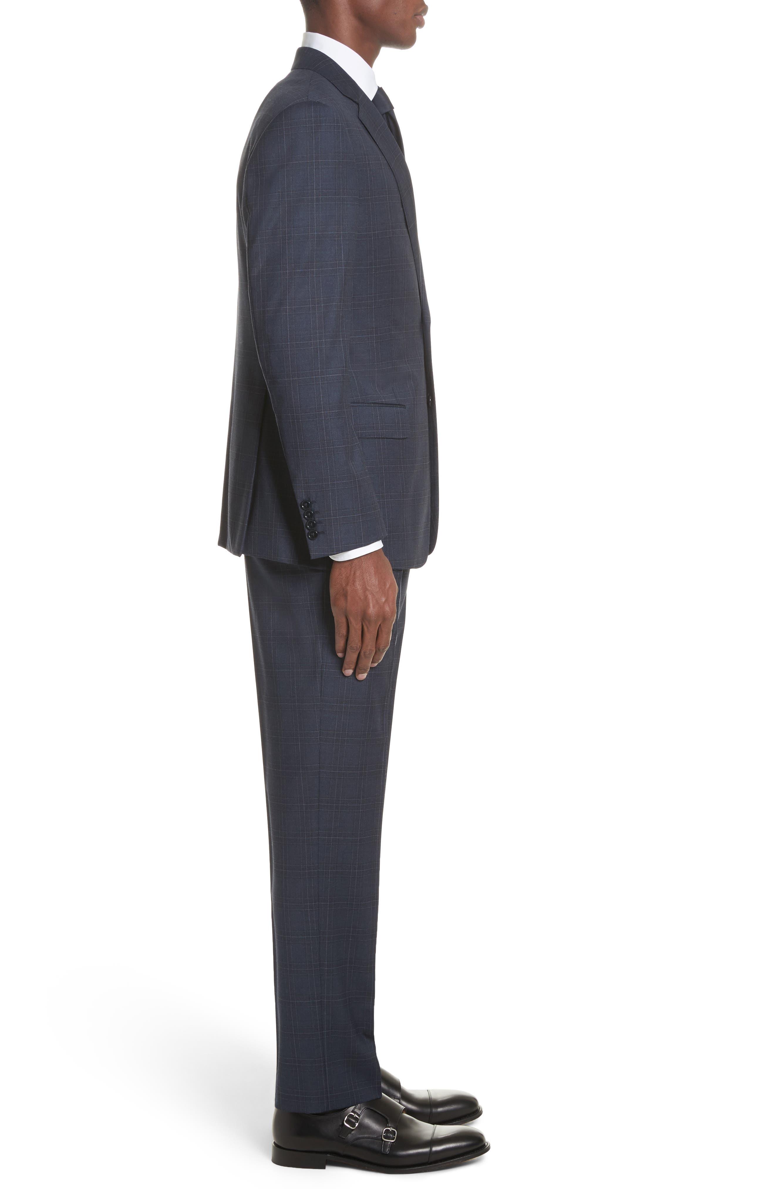 G Line Trim Fit Plaid Wool Suit,                             Alternate thumbnail 3, color,                             Navy