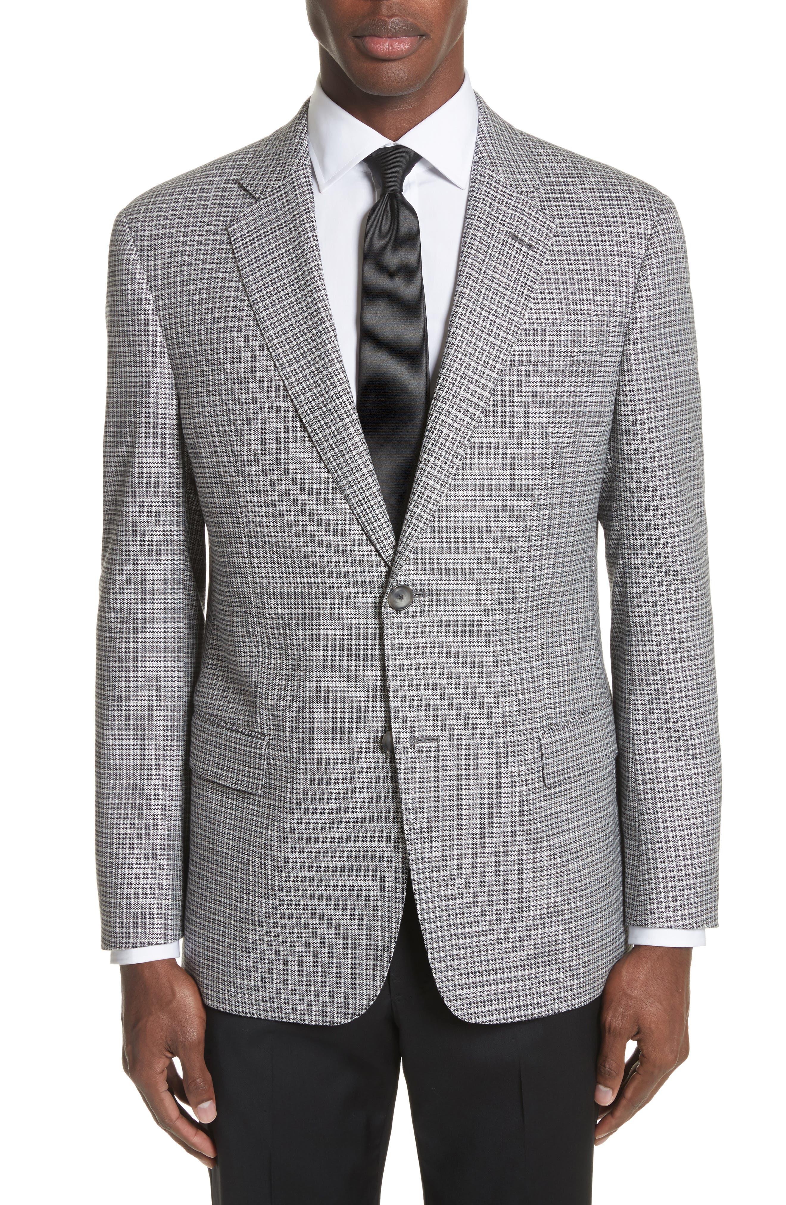 G Line Trim Fit Check Sport Coat,                         Main,                         color, Grey