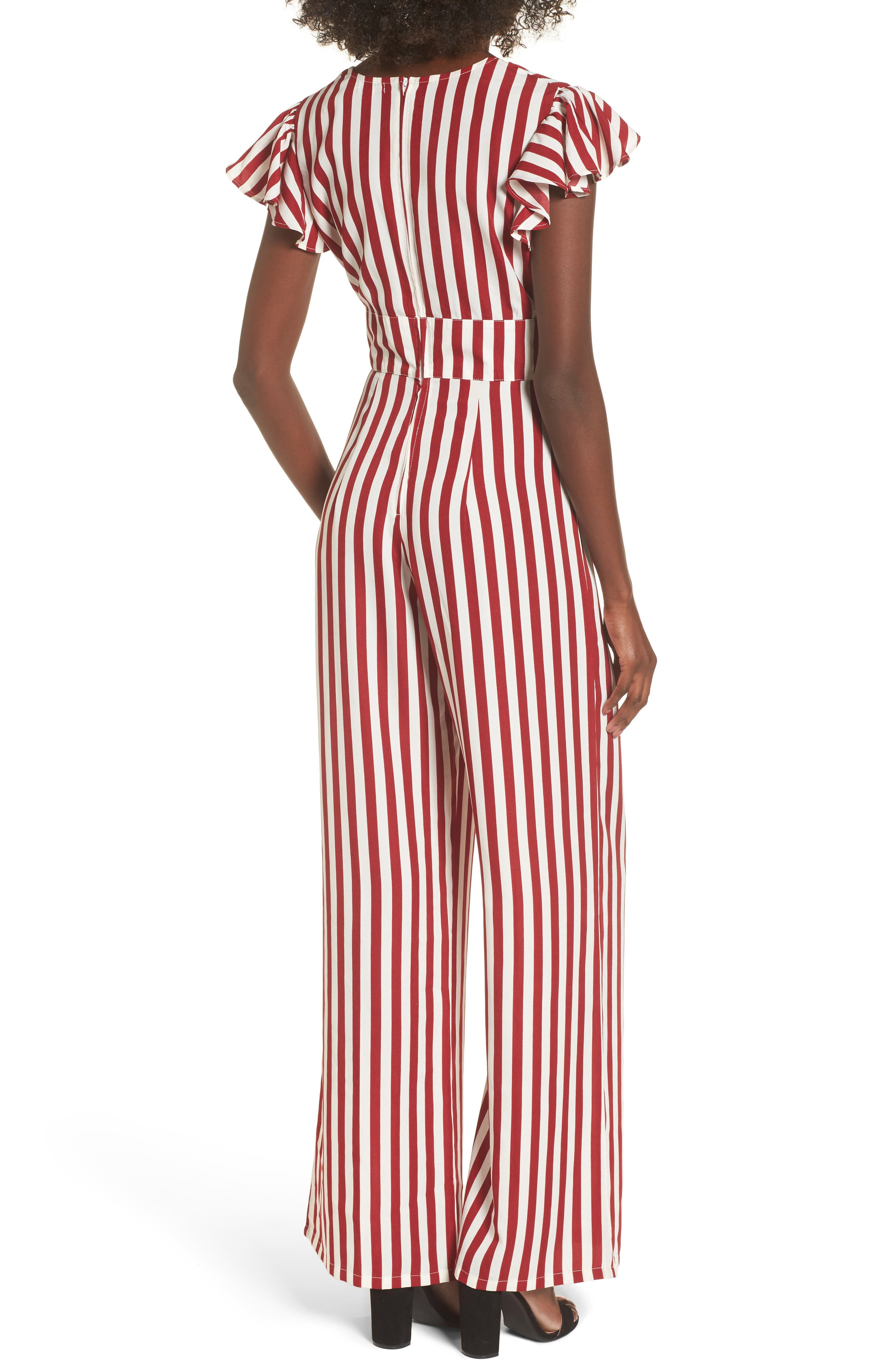 Tie Front Wide Leg Jumpsuit,                             Alternate thumbnail 2, color,                             Red White Stripe