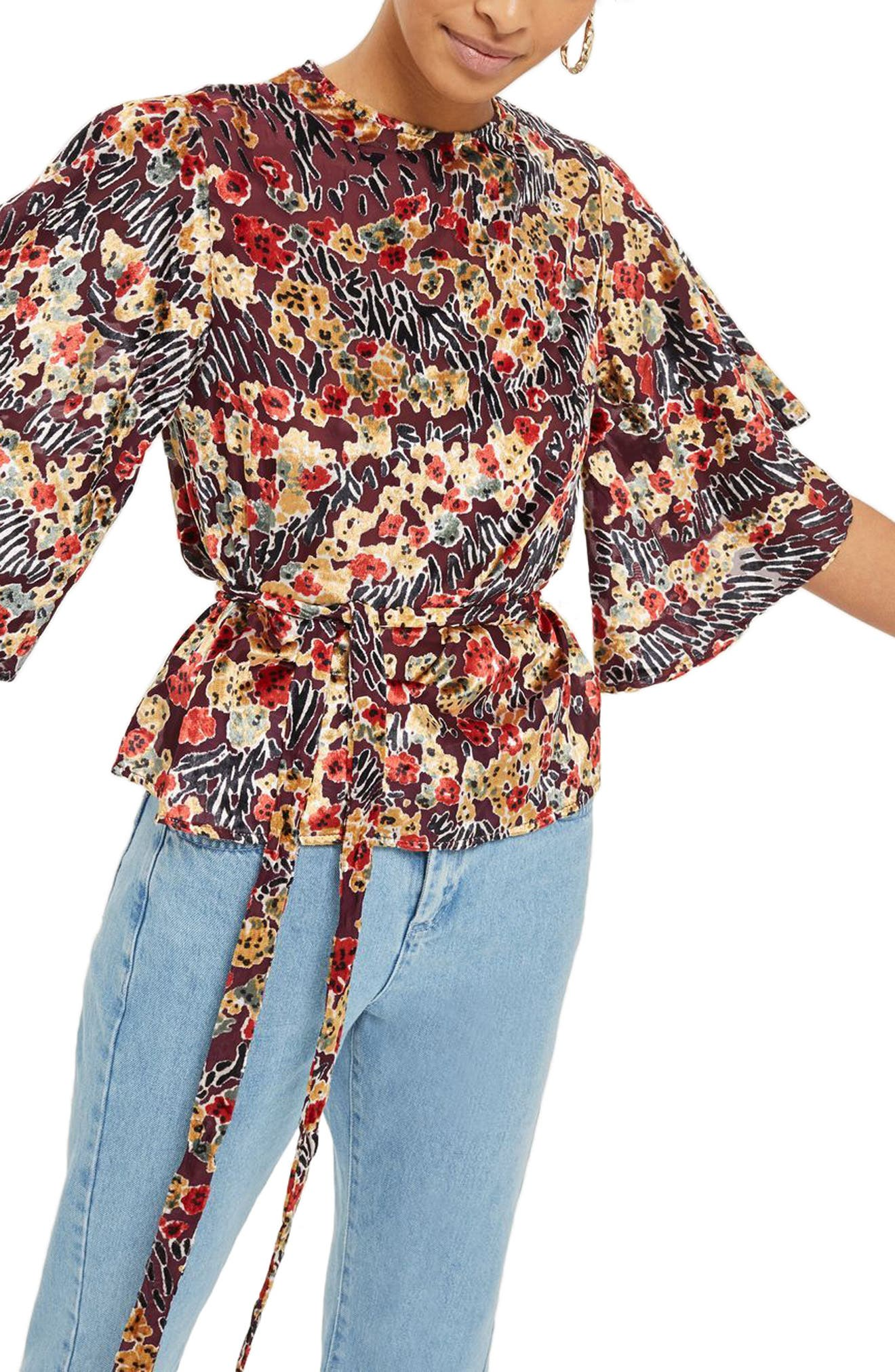 Devoré Bell Sleeve Blouse,                             Alternate thumbnail 3, color,                             Red Multi