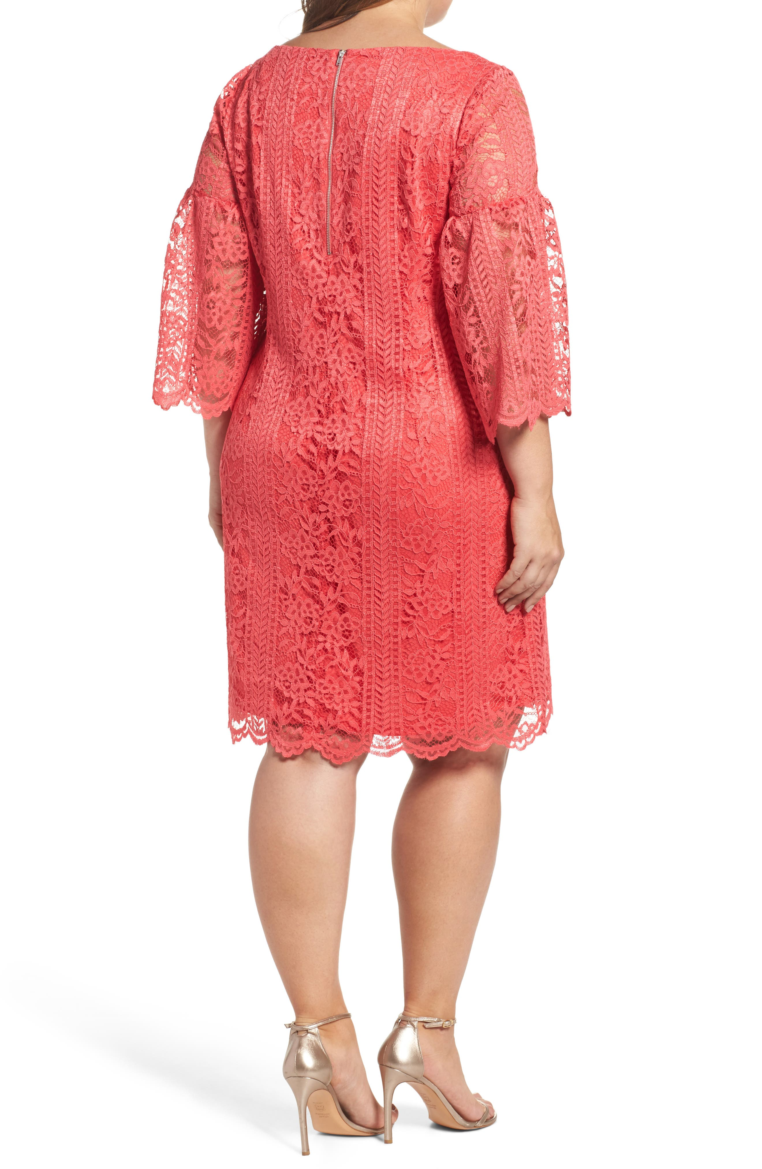 Bell Sleeve Lace Shift Dress,                             Alternate thumbnail 2, color,                             Hot Coral