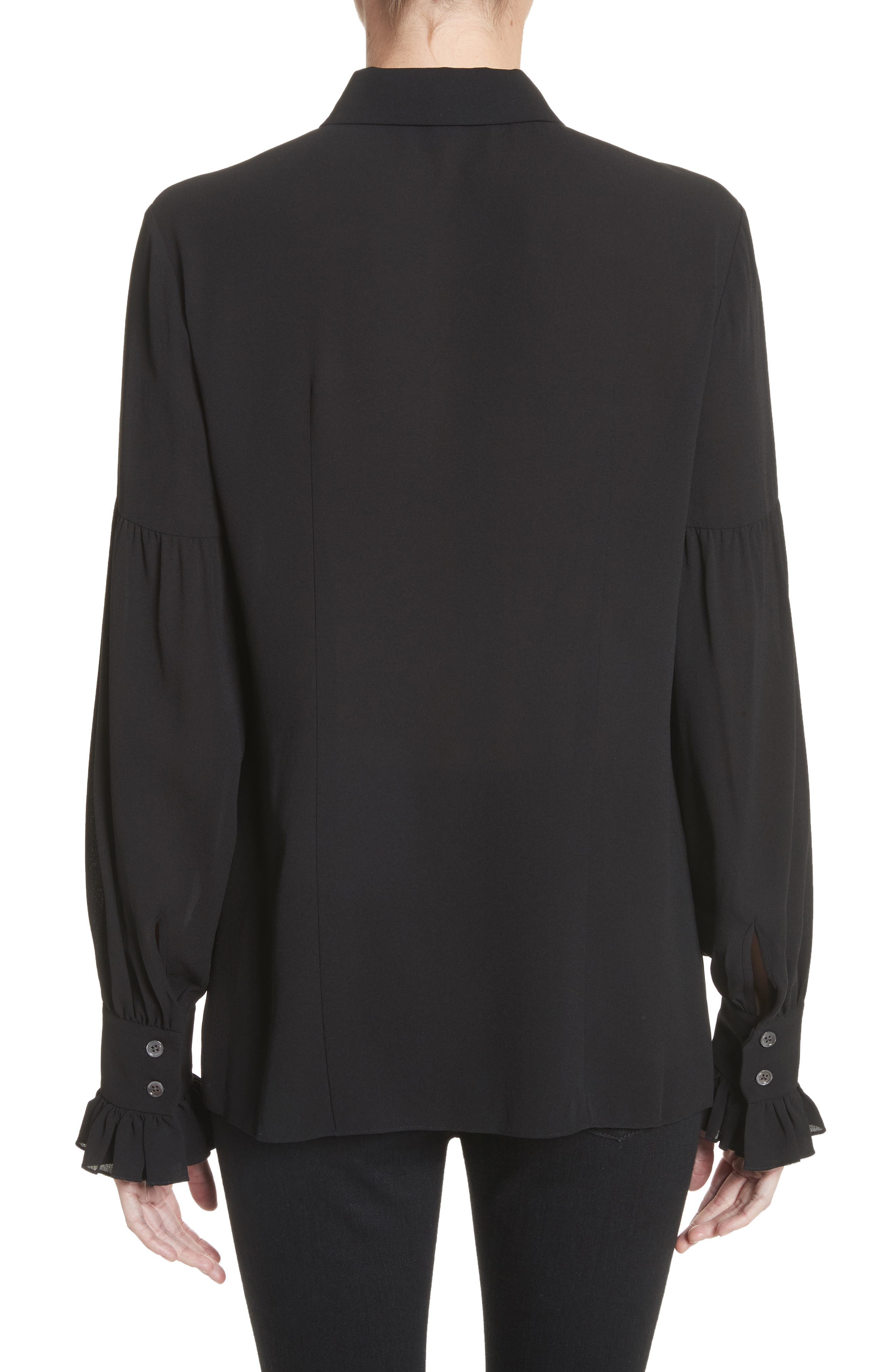 Gathered Sleeve Silk Georgette Blouse,                             Alternate thumbnail 2, color,                             Black