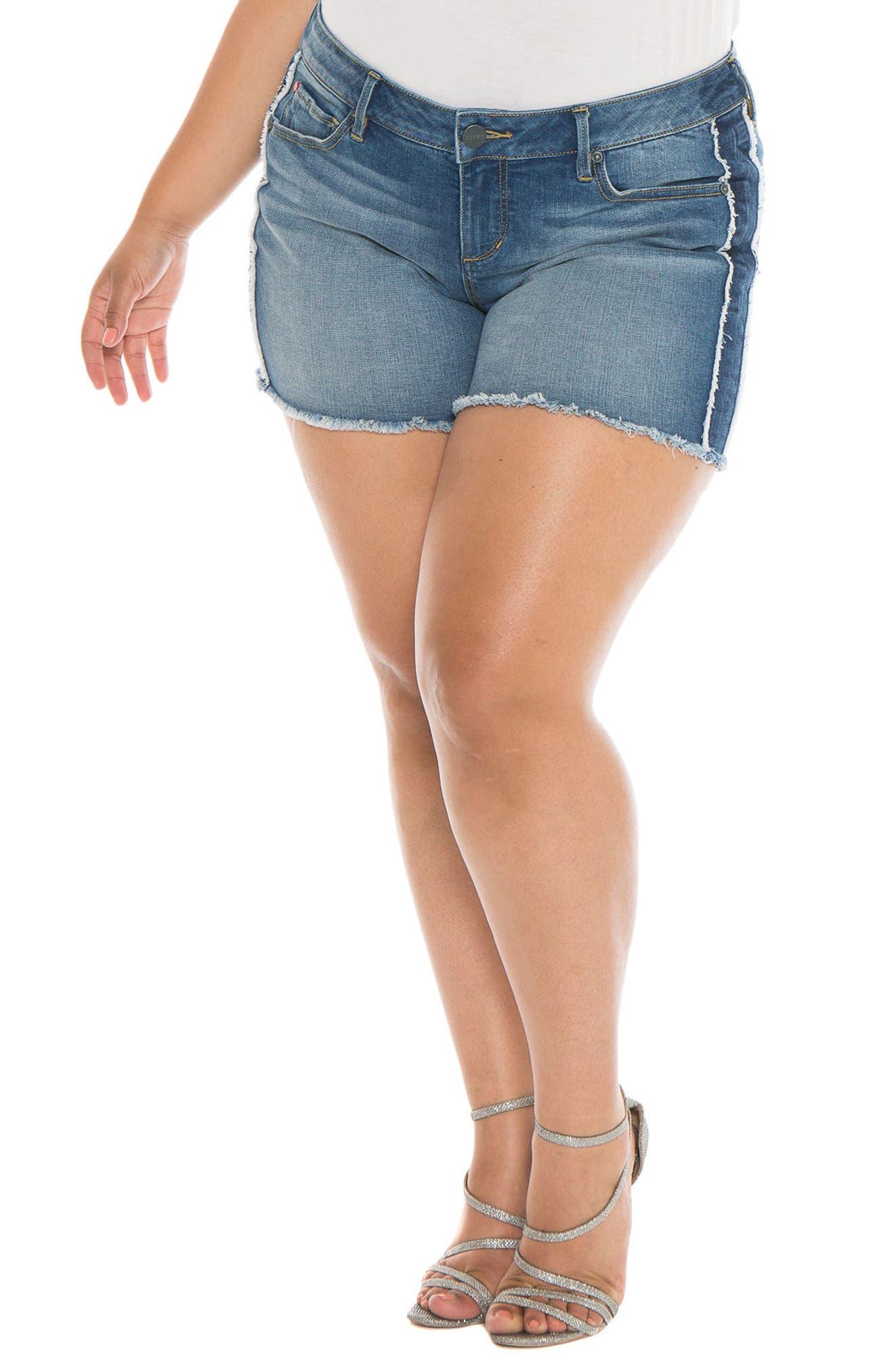Tux Frayed Denim Shorts,                             Main thumbnail 1, color,                             Miriam